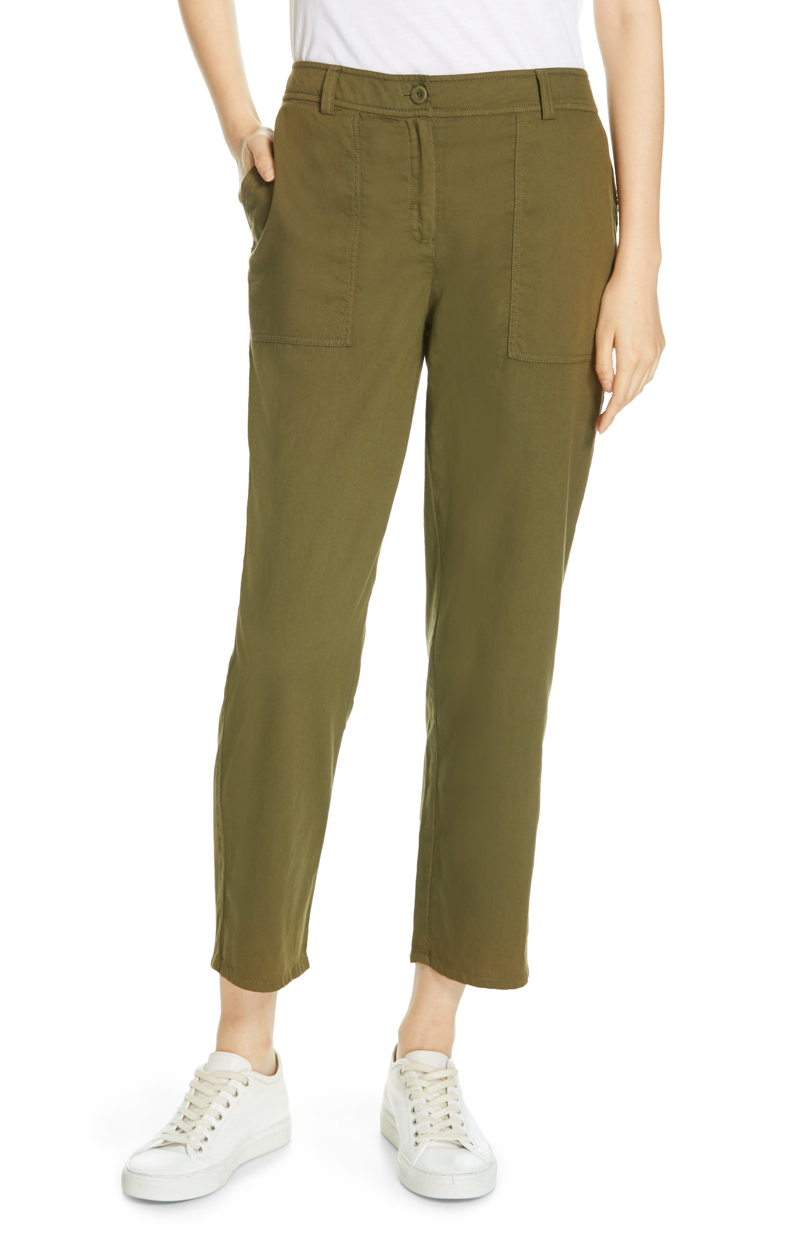 EILEEN FISHER, Slouchy Ankle Pants, Main thumbnail 1, color, OLIVE