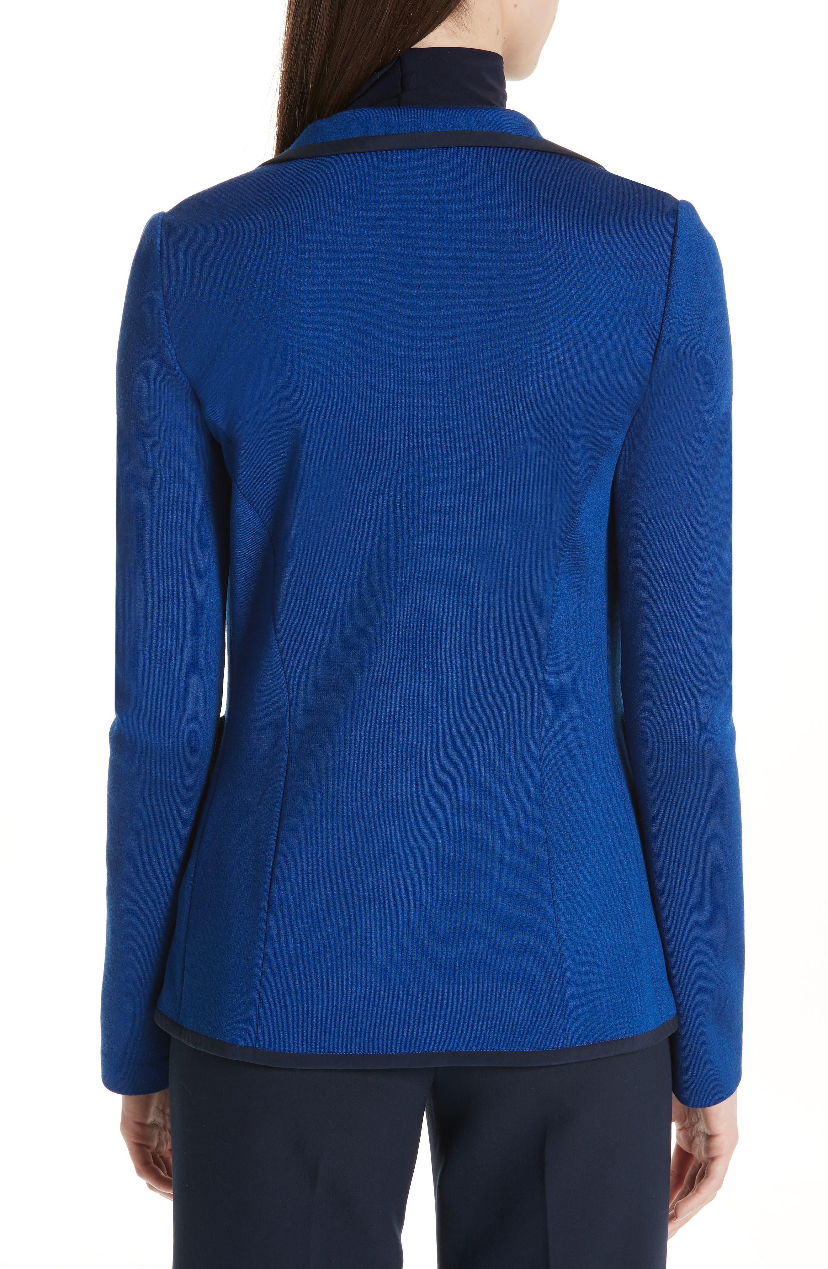 ST. JOHN COLLECTION, Patch Pocket Milano Knit Jacket, Alternate thumbnail 2, color, AZUL/ NAVY