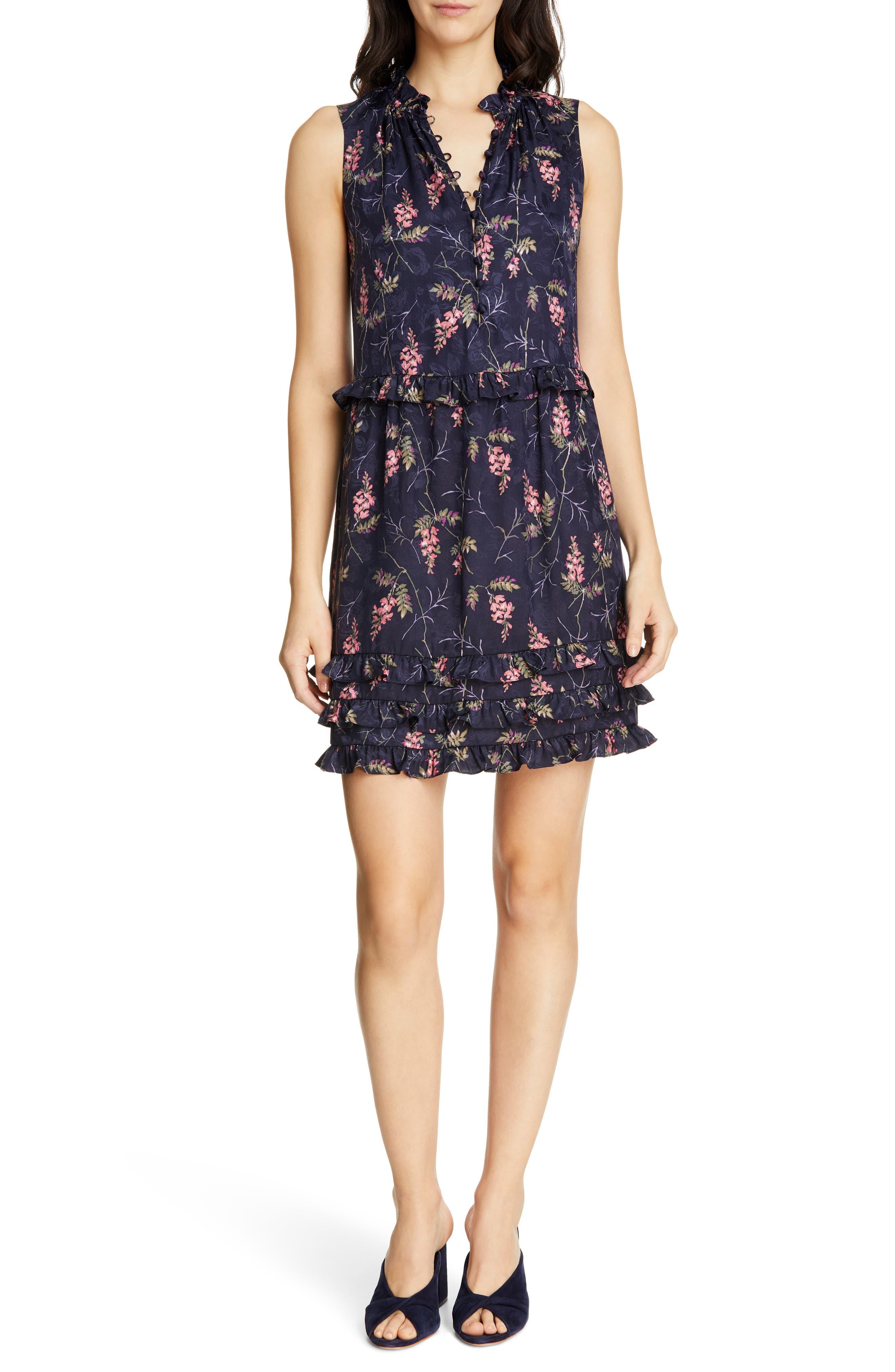 REBECCA TAYLOR, Ivie Floral Ruffle Silk Blend Dress, Main thumbnail 1, color, NAVY COMBO