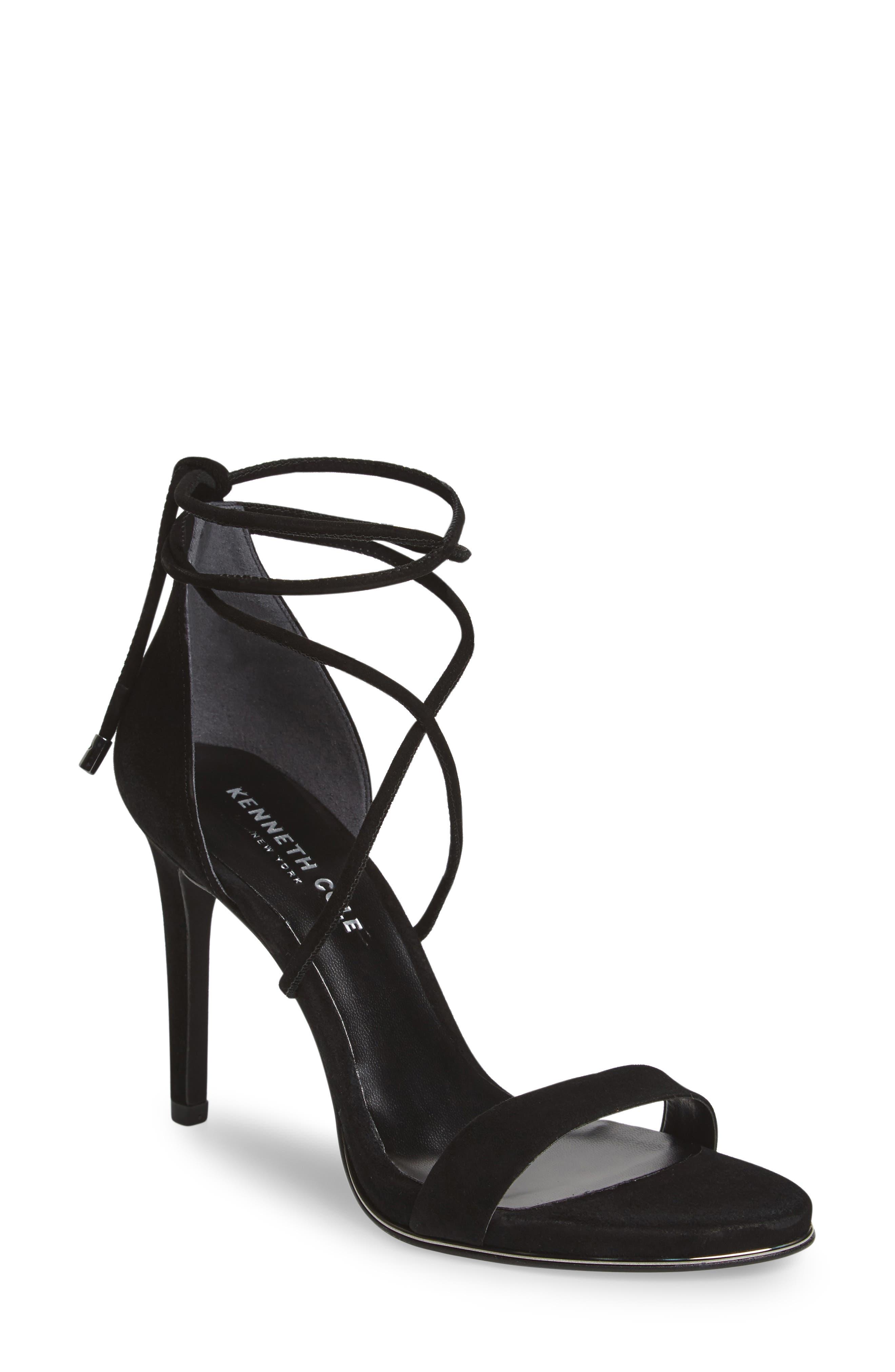 KENNETH COLE NEW YORK, Berry Wraparound Sandal, Main thumbnail 1, color, BLACK SUEDE
