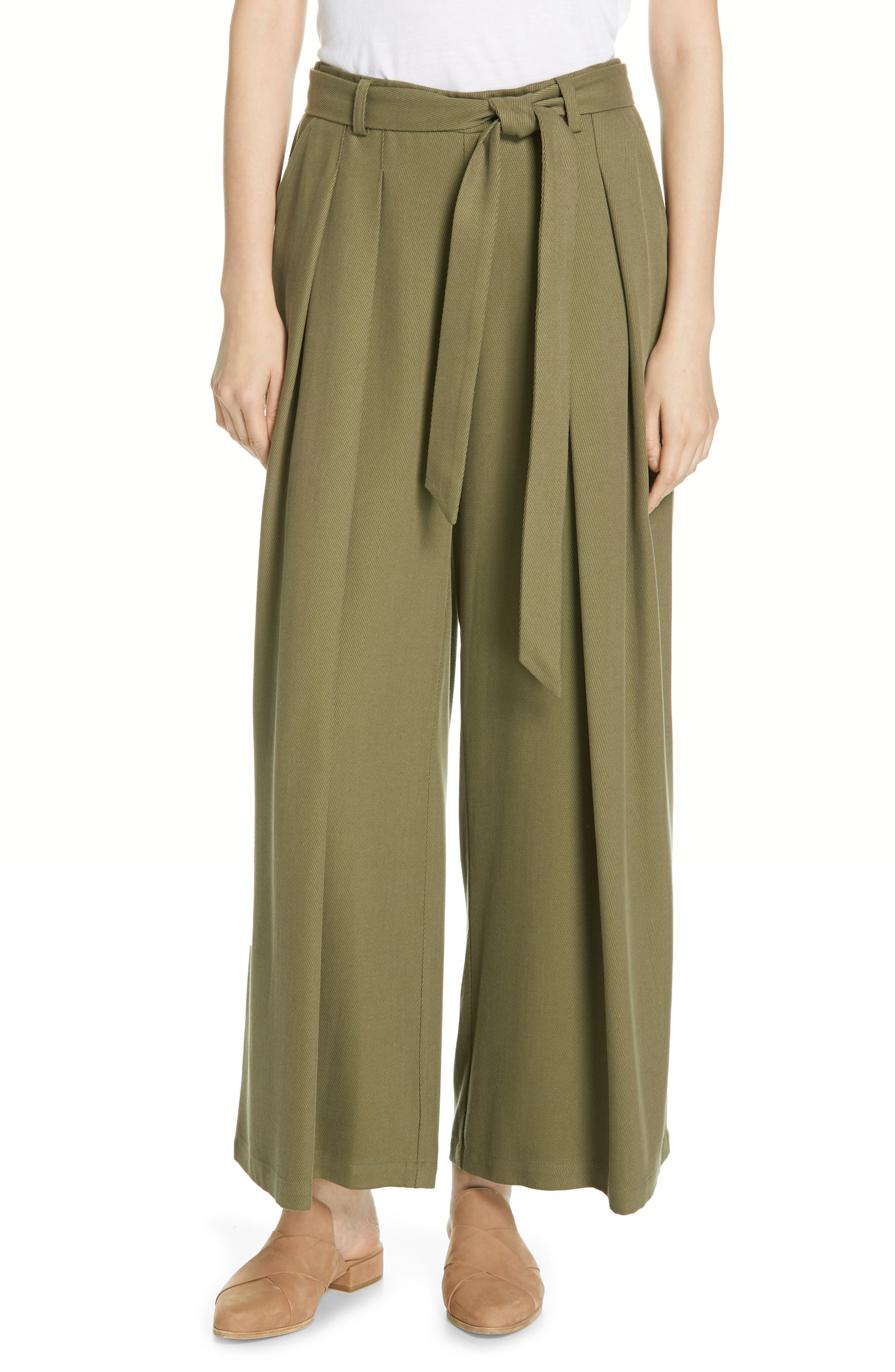 EILEEN FISHER Belted Wide Leg Pants, Main, color, 301