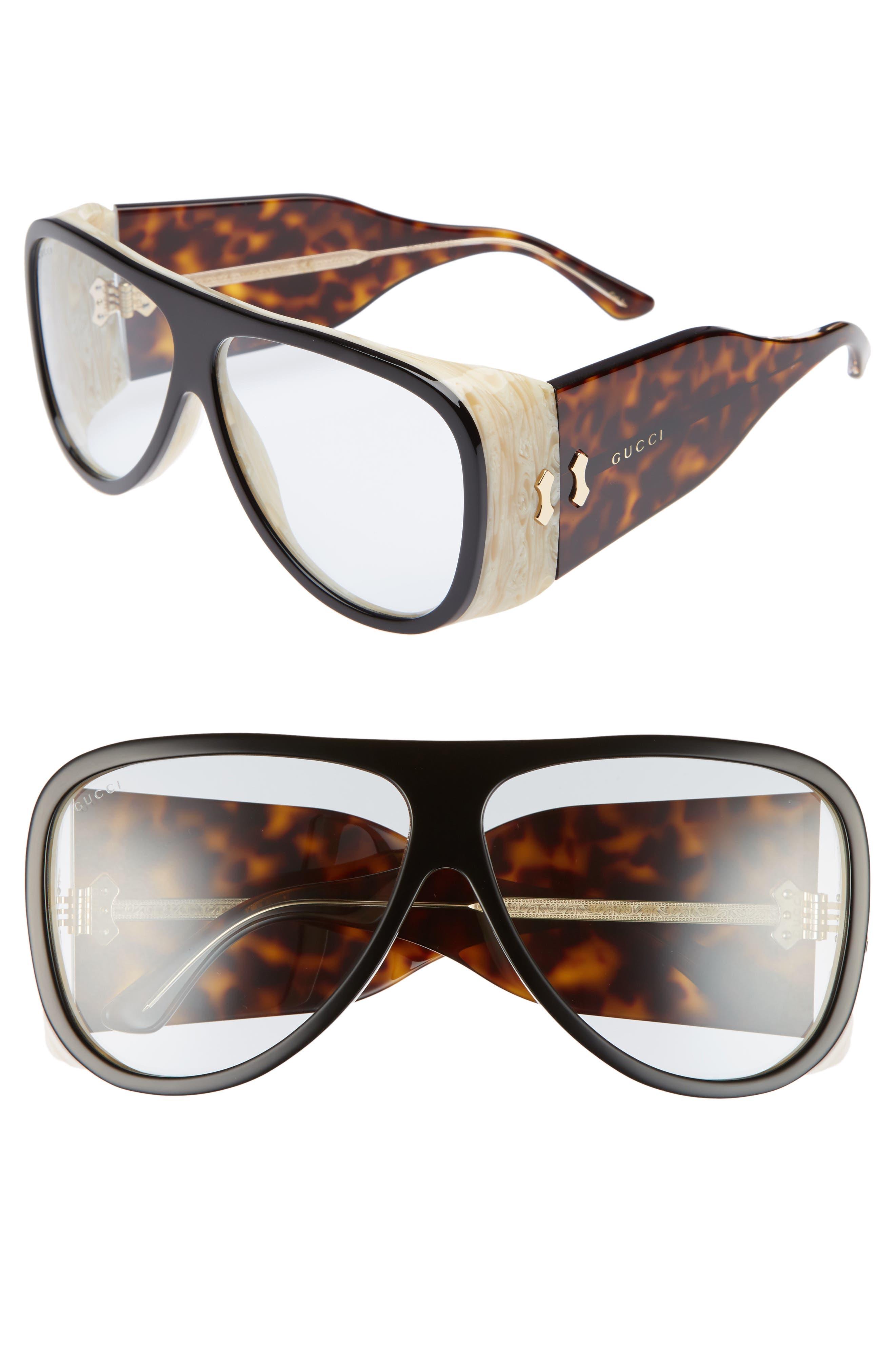 GUCCI, 63mm Oversize Aviator Sunglasses, Main thumbnail 1, color, BLACK