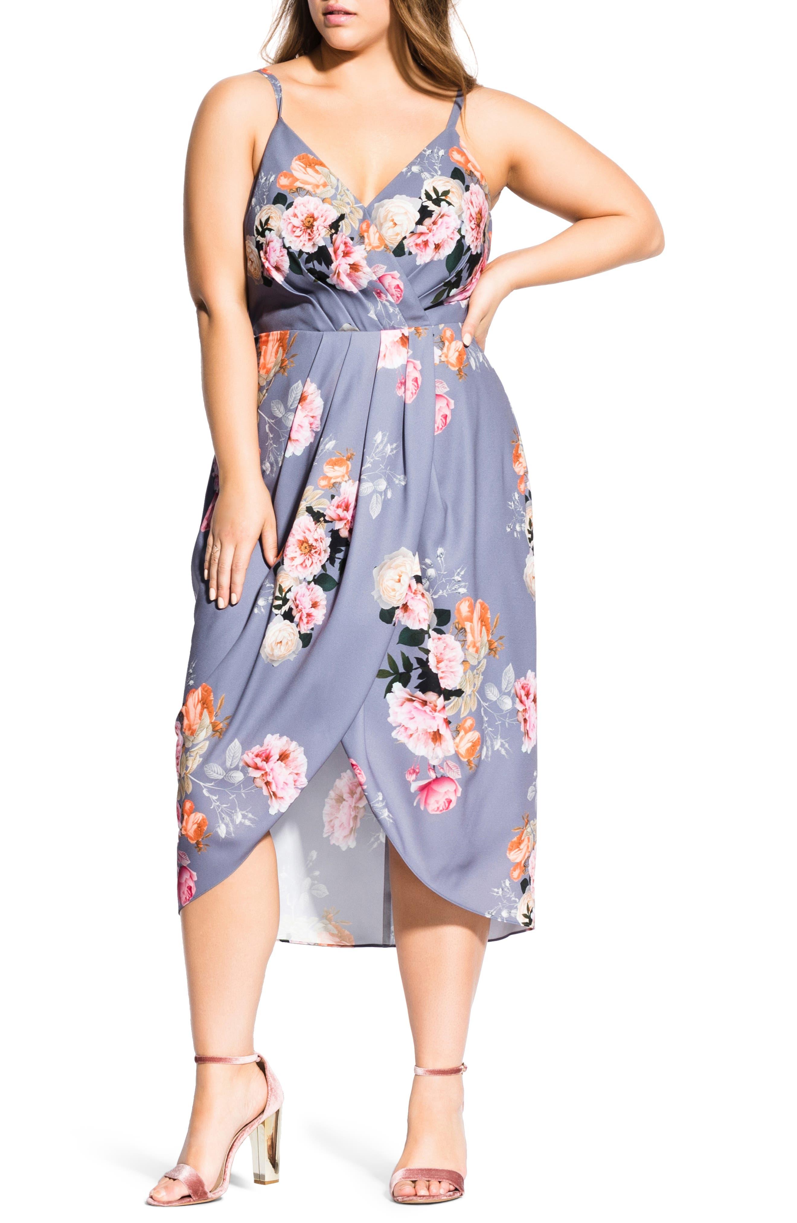 Plus Size City Chic Florence Vintage Rose Print Woven Sundress, Blue