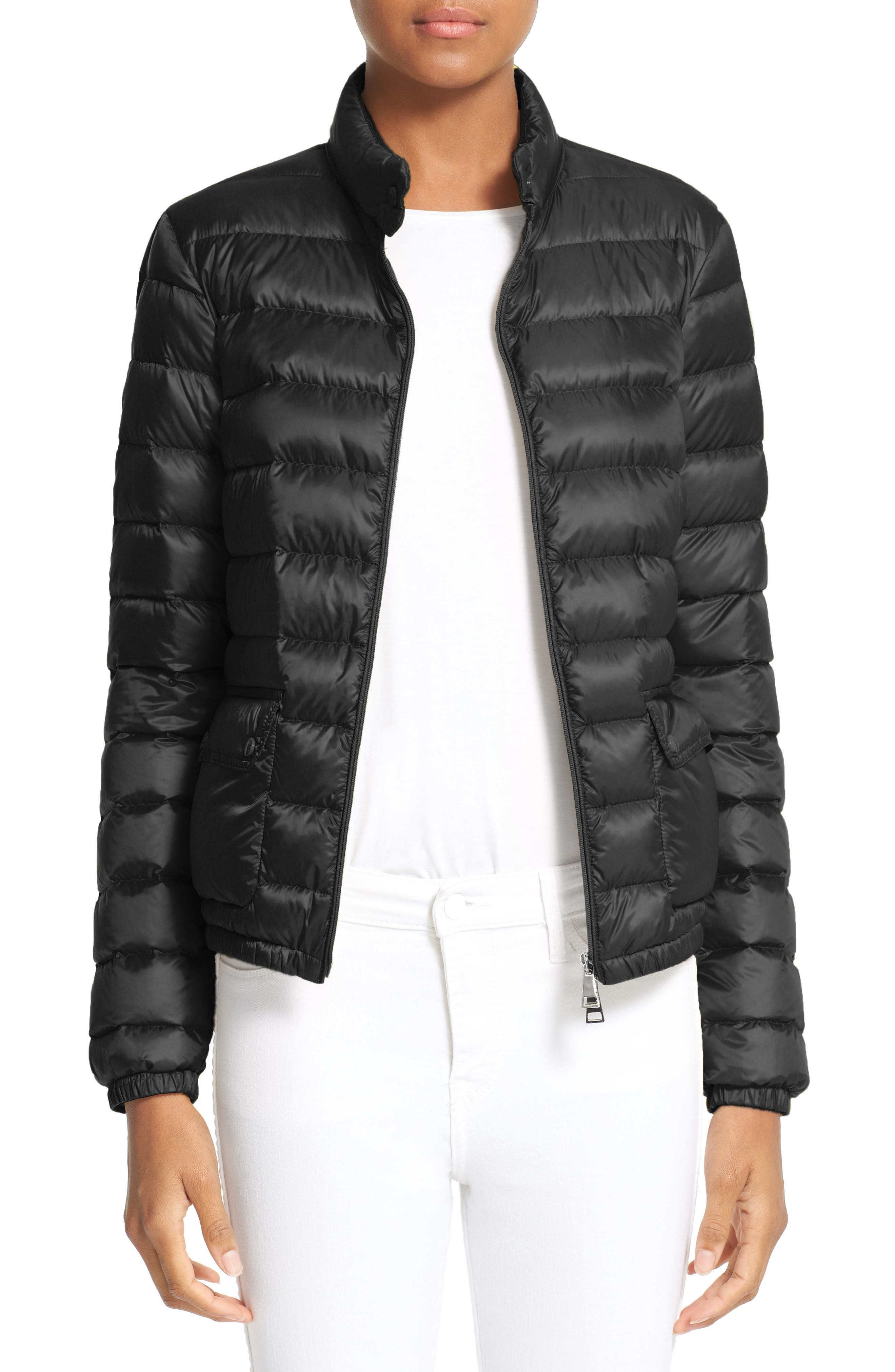 MONCLER, 'Lans' Water Resistant Short Down Jacket, Main thumbnail 1, color, 001