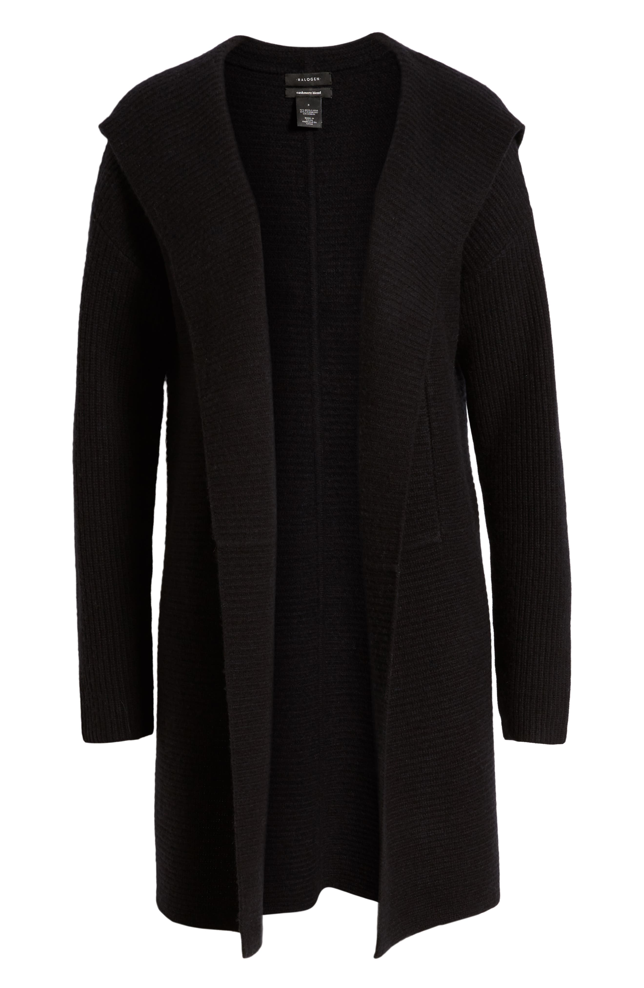 HALOGEN<SUP>®</SUP>, Hooded Wool & Cashmere Cardigan, Alternate thumbnail 6, color, 001