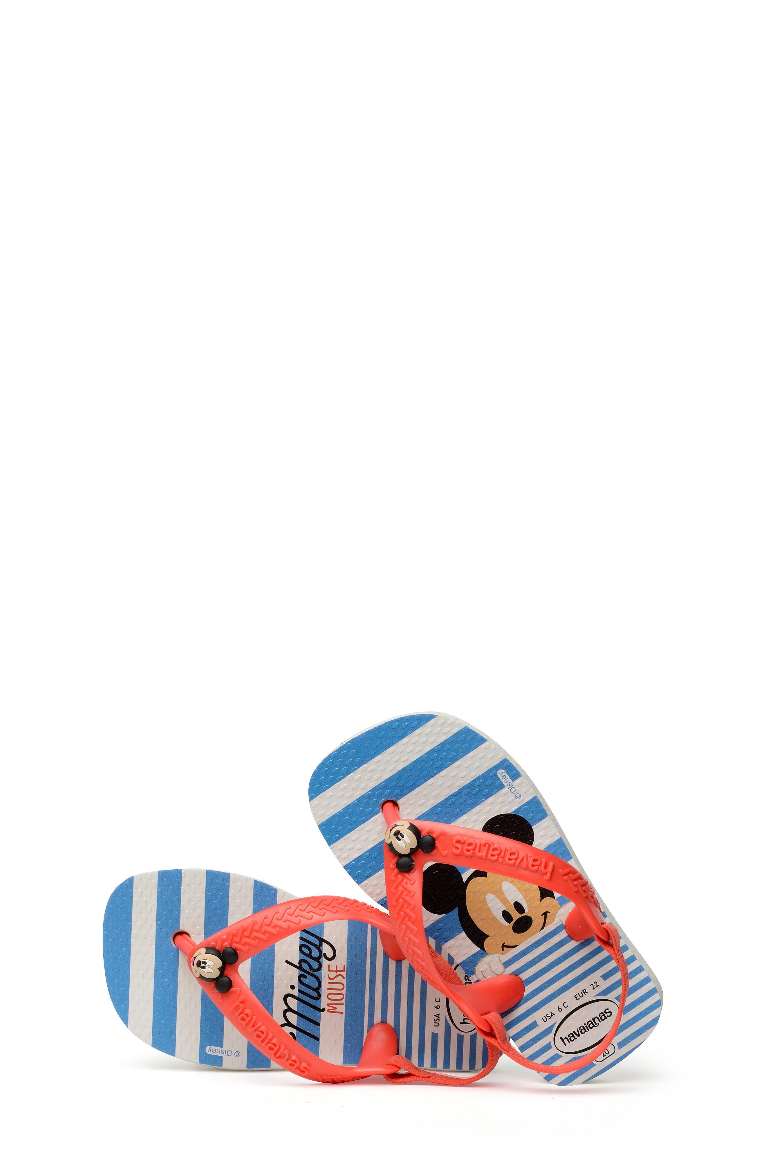 HAVAIANAS, Baby Disney Classics Flip Flop, Alternate thumbnail 7, color, WHITE/ STRAWBERRY COLOR