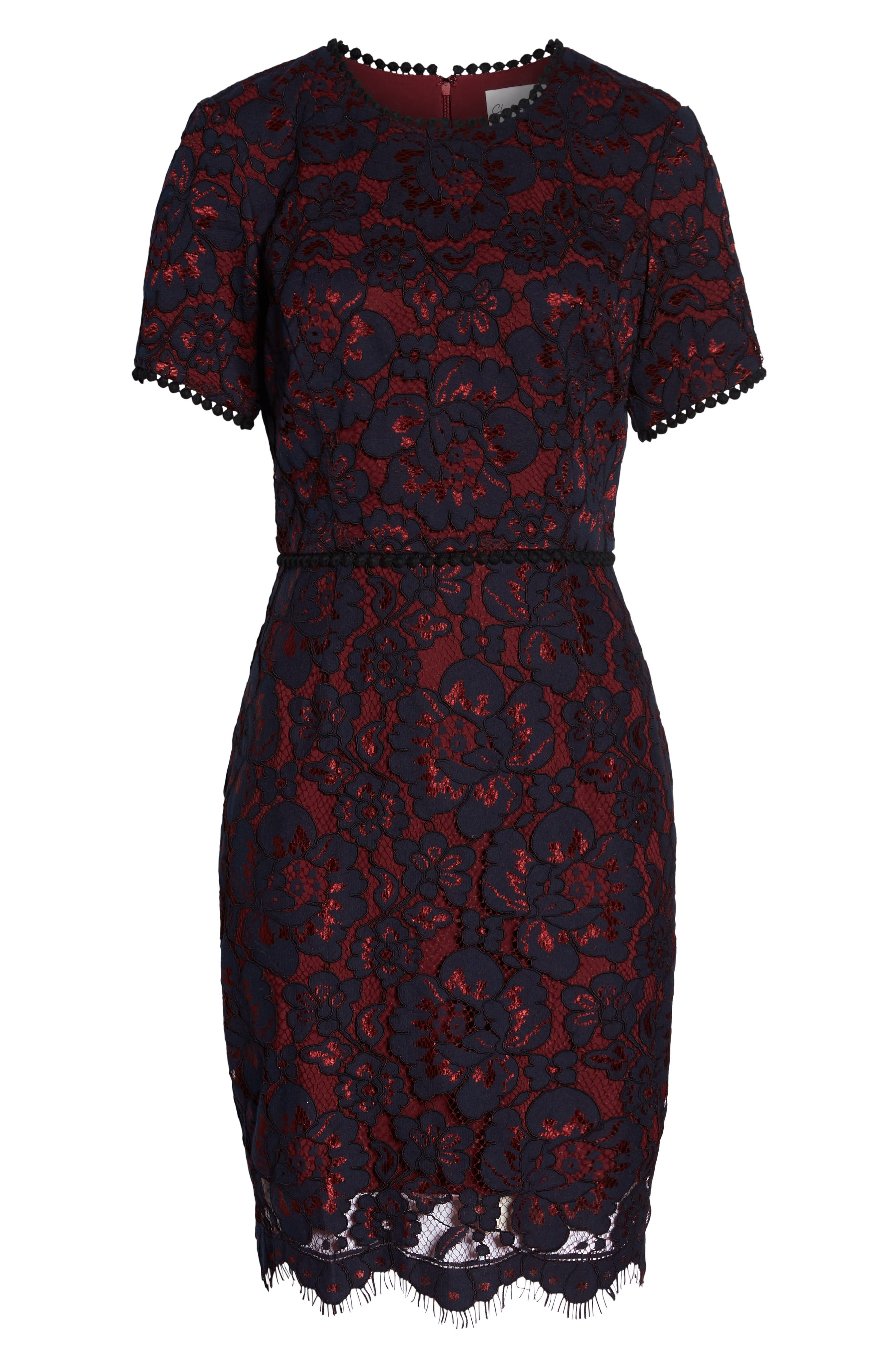CHARLES HENRY, Lace Sheath Dress, Alternate thumbnail 7, color, 438