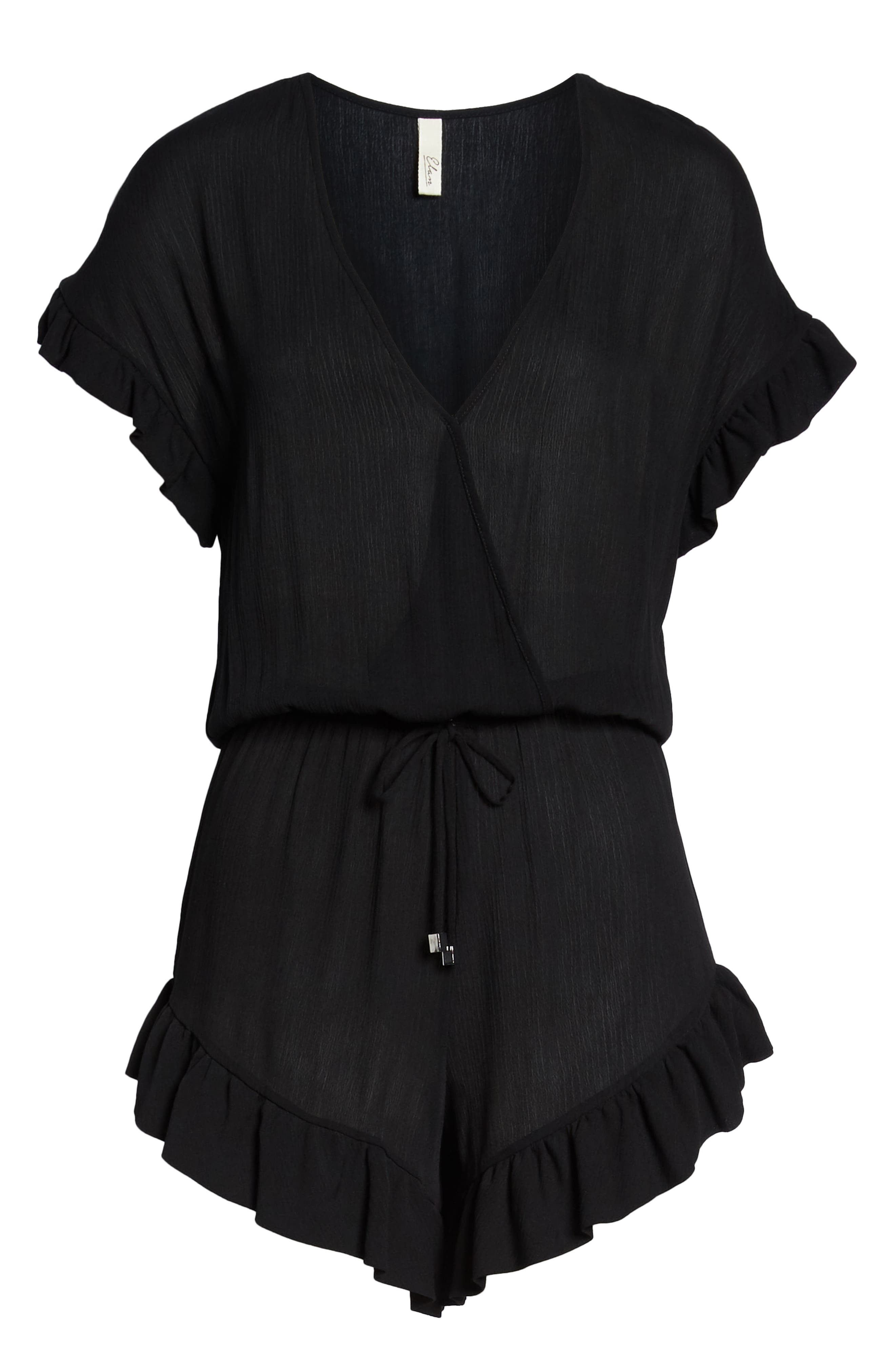 ELAN, Ruffle Sleeve Cover-Up Romper, Alternate thumbnail 7, color, BLACK