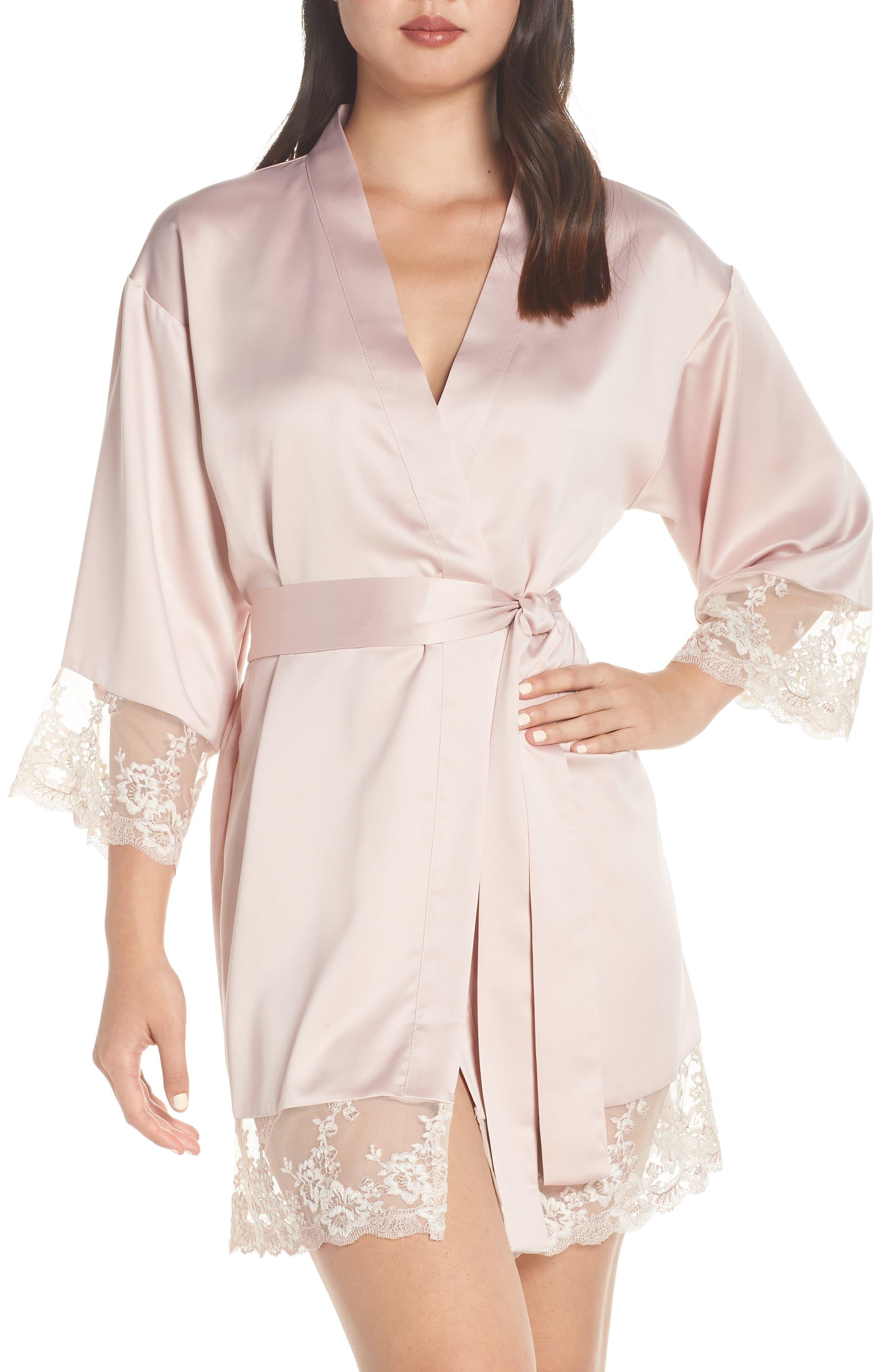 FLORA NIKROOZ, Rosa Kimono Robe, Main thumbnail 1, color, SHELL PINK