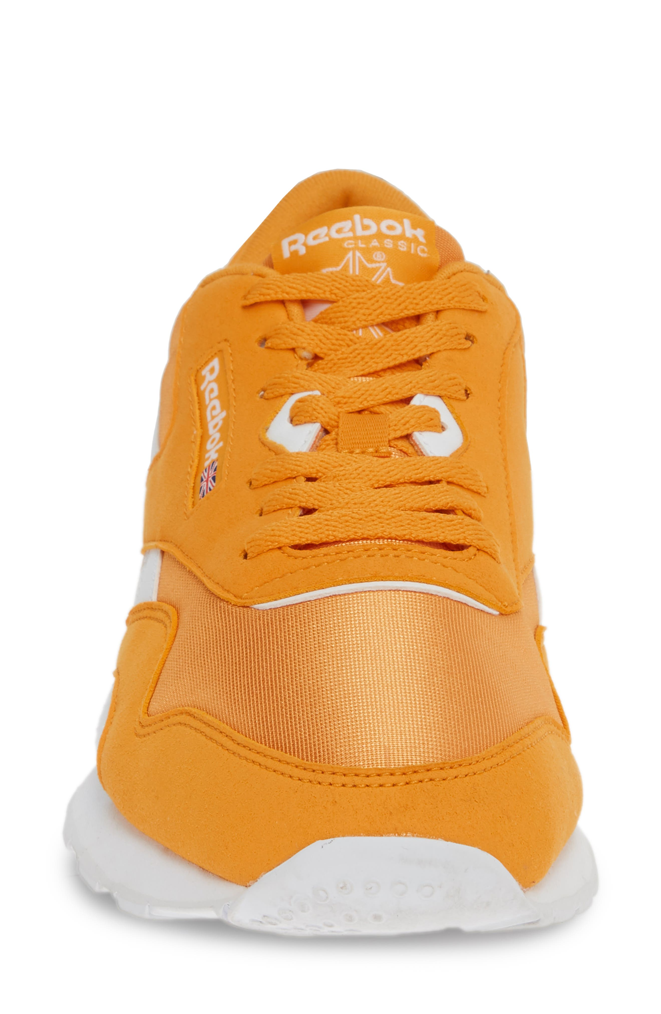 REEBOK, Classic Nylon Sneaker, Alternate thumbnail 4, color, TREK GOLD/ WHITE