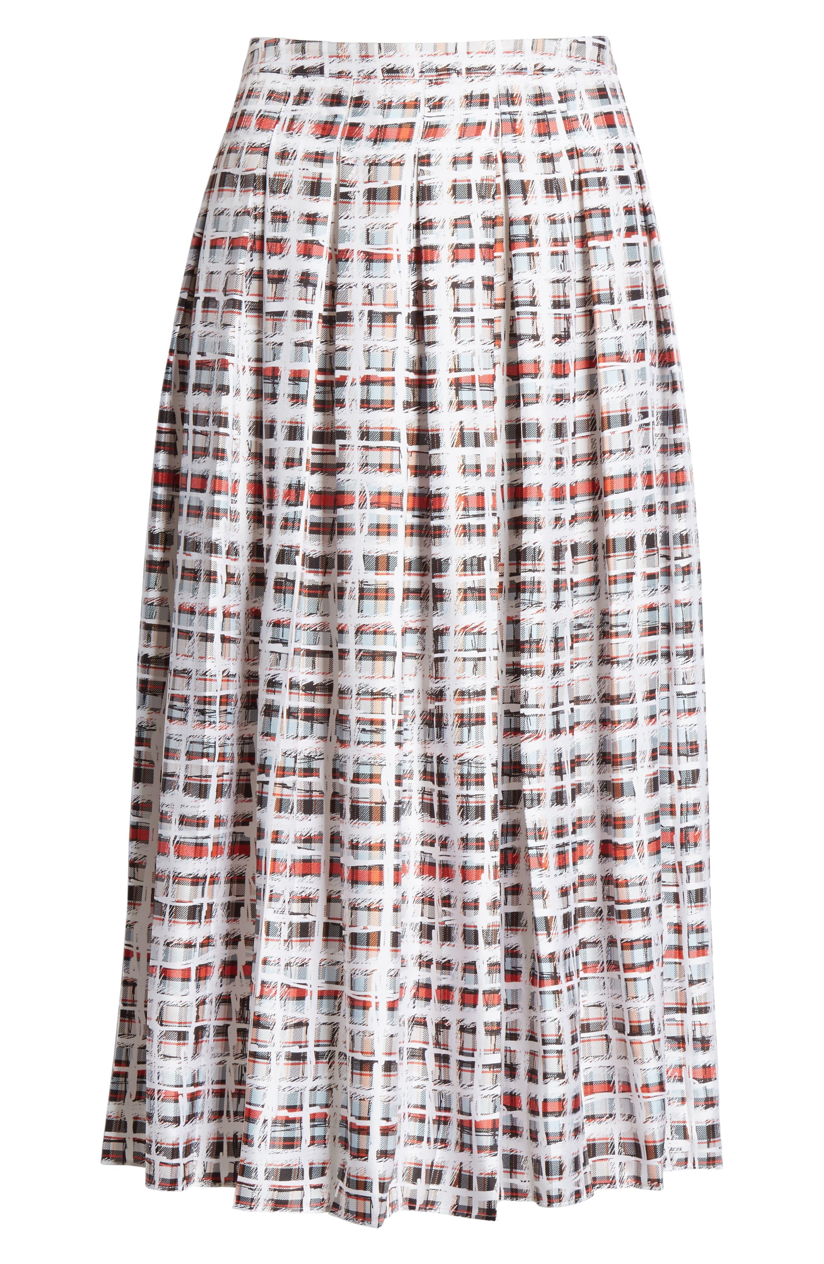 BURBERRY, Farnborough Pleated Check Silk Midi Skirt, Alternate thumbnail 6, color, CADMIUM RED