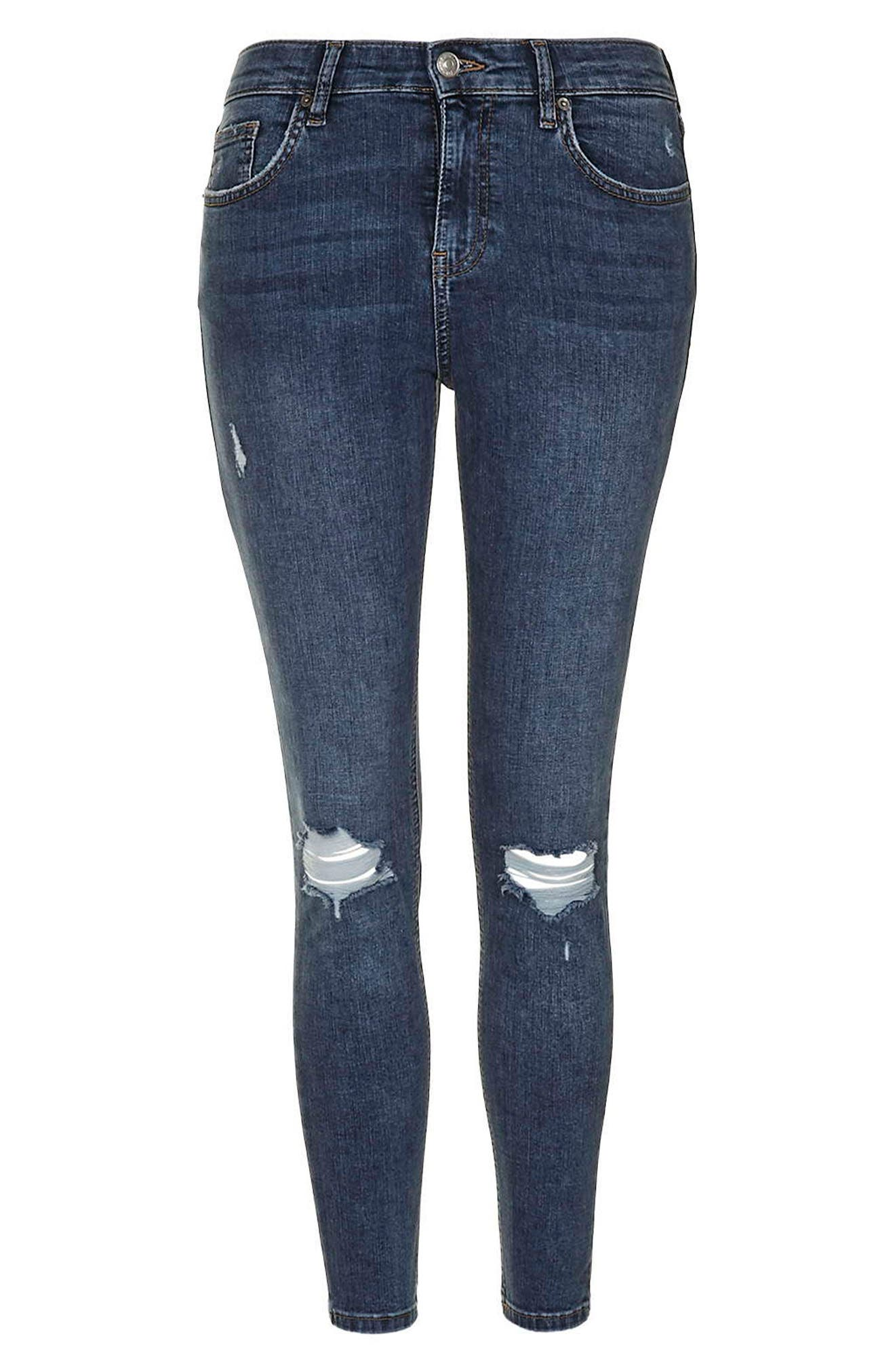 TOPSHOP, Moto 'Jamie' Ripped Skinny Ankle Jeans, Alternate thumbnail 6, color, MID DENIM
