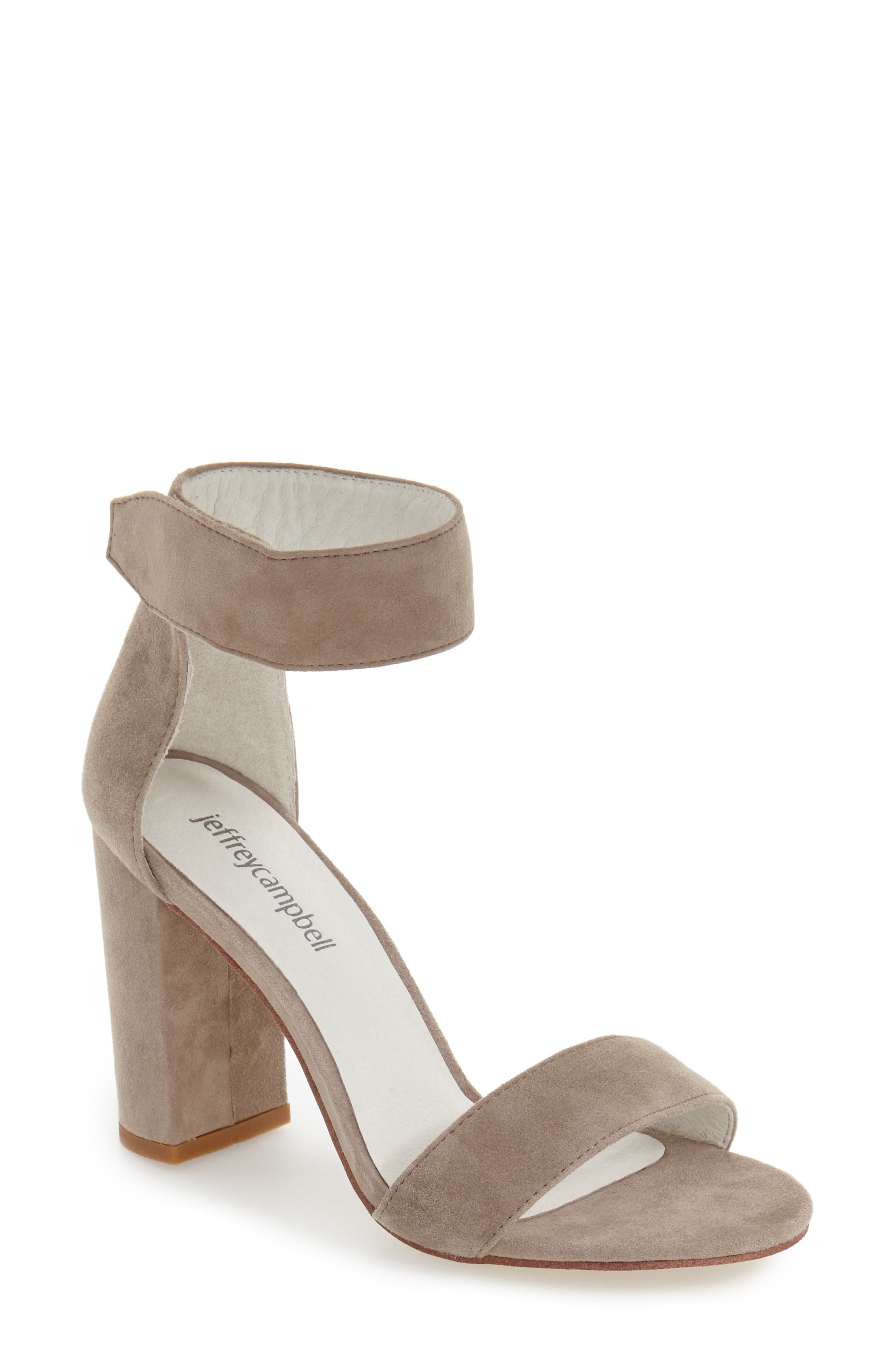 JEFFREY CAMPBELL, Lindsay Ankle Strap Sandal, Main thumbnail 1, color, TAUPE SUEDE