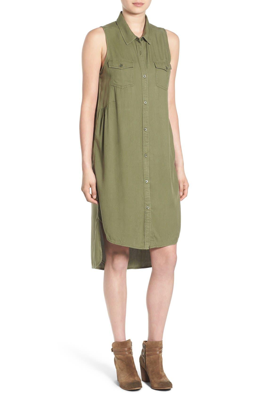 BP. Sleeveless Woven Shirtdress, Main, color, 311