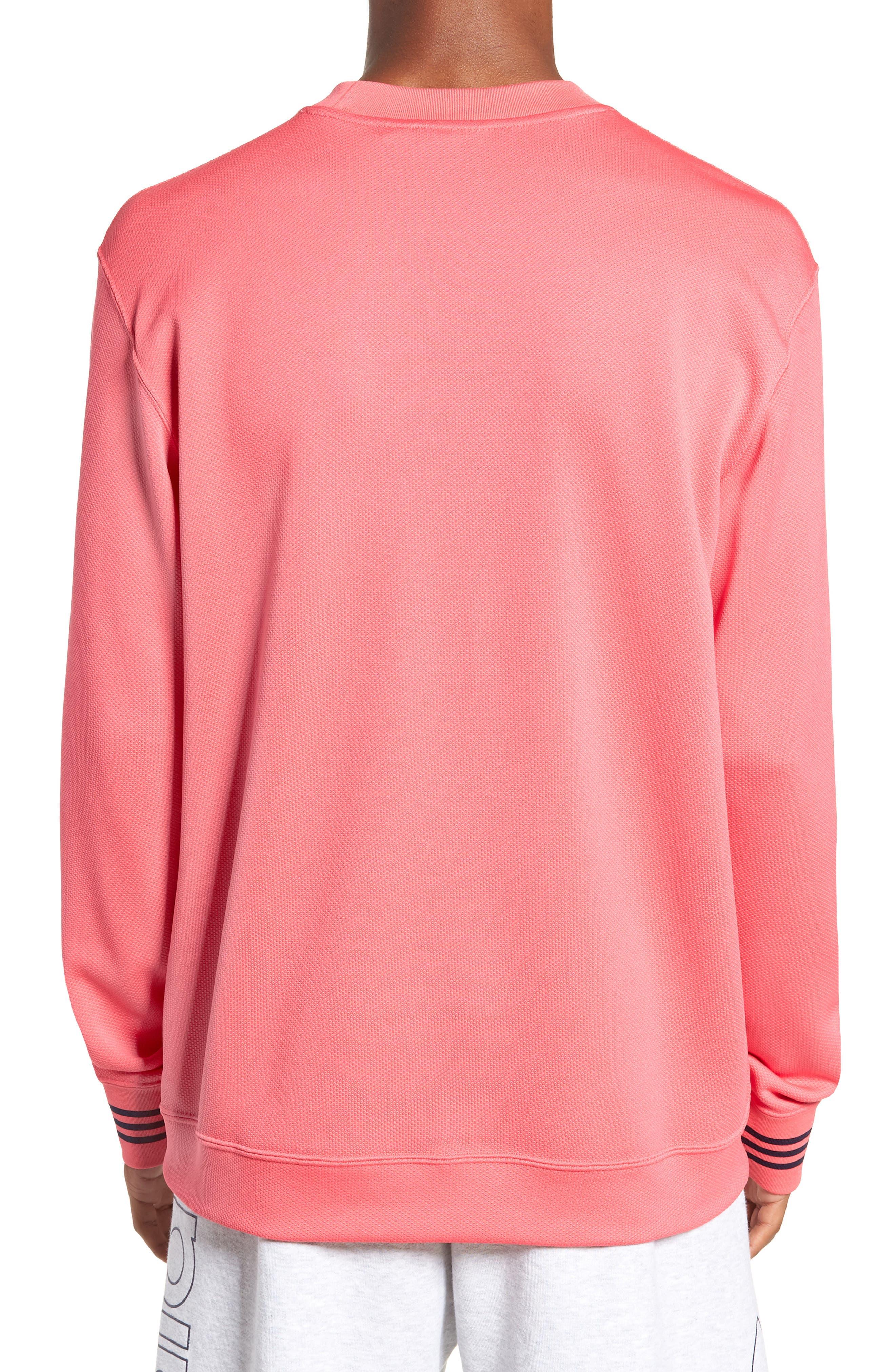 ADIDAS ORIGINALS, Piqué Long Sleeve T-Shirt, Alternate thumbnail 2, color, REAL PINK
