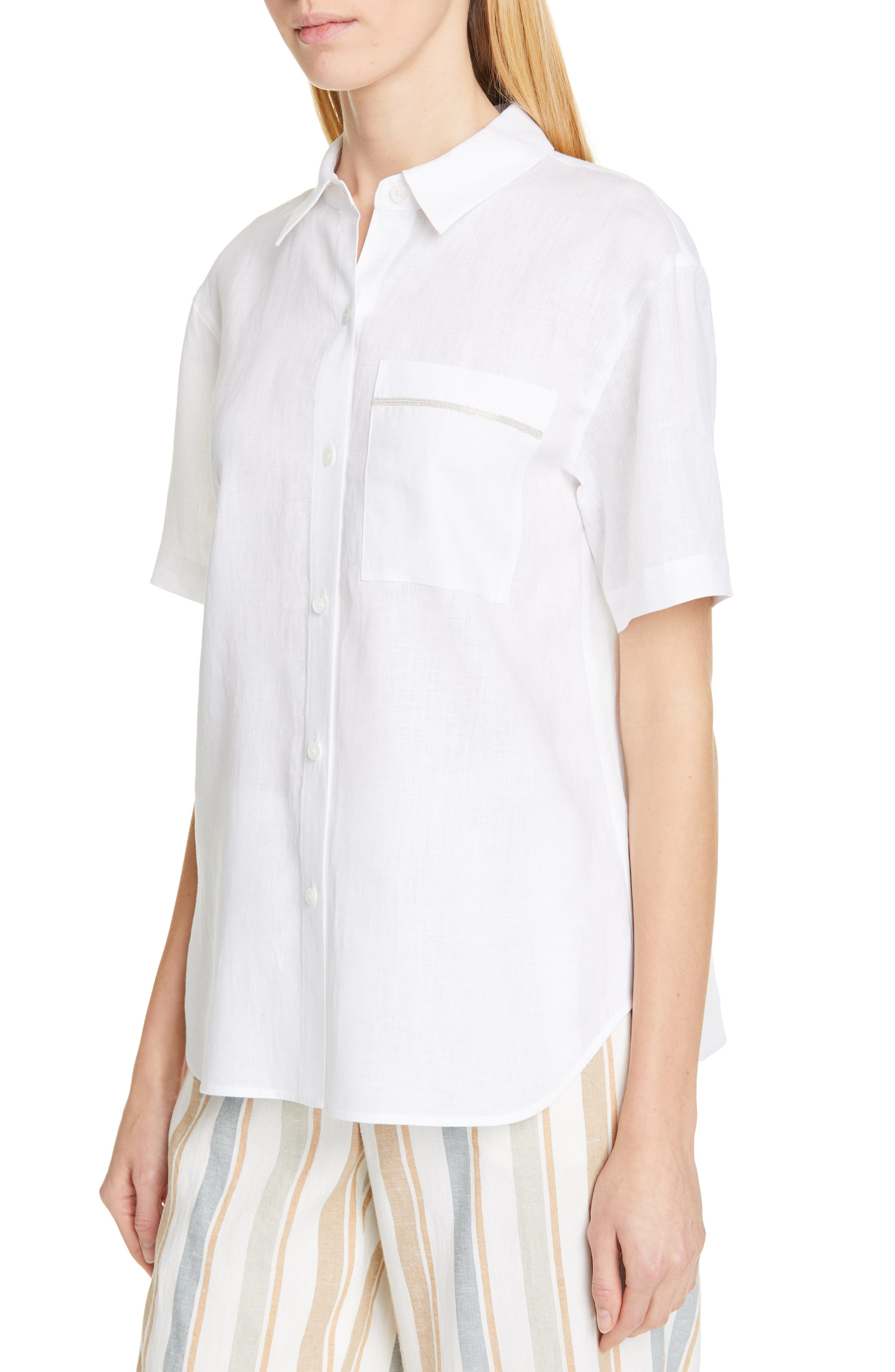 LAFAYETTE 148 NEW YORK, Justice Linen Shirt, Alternate thumbnail 4, color, WHITE