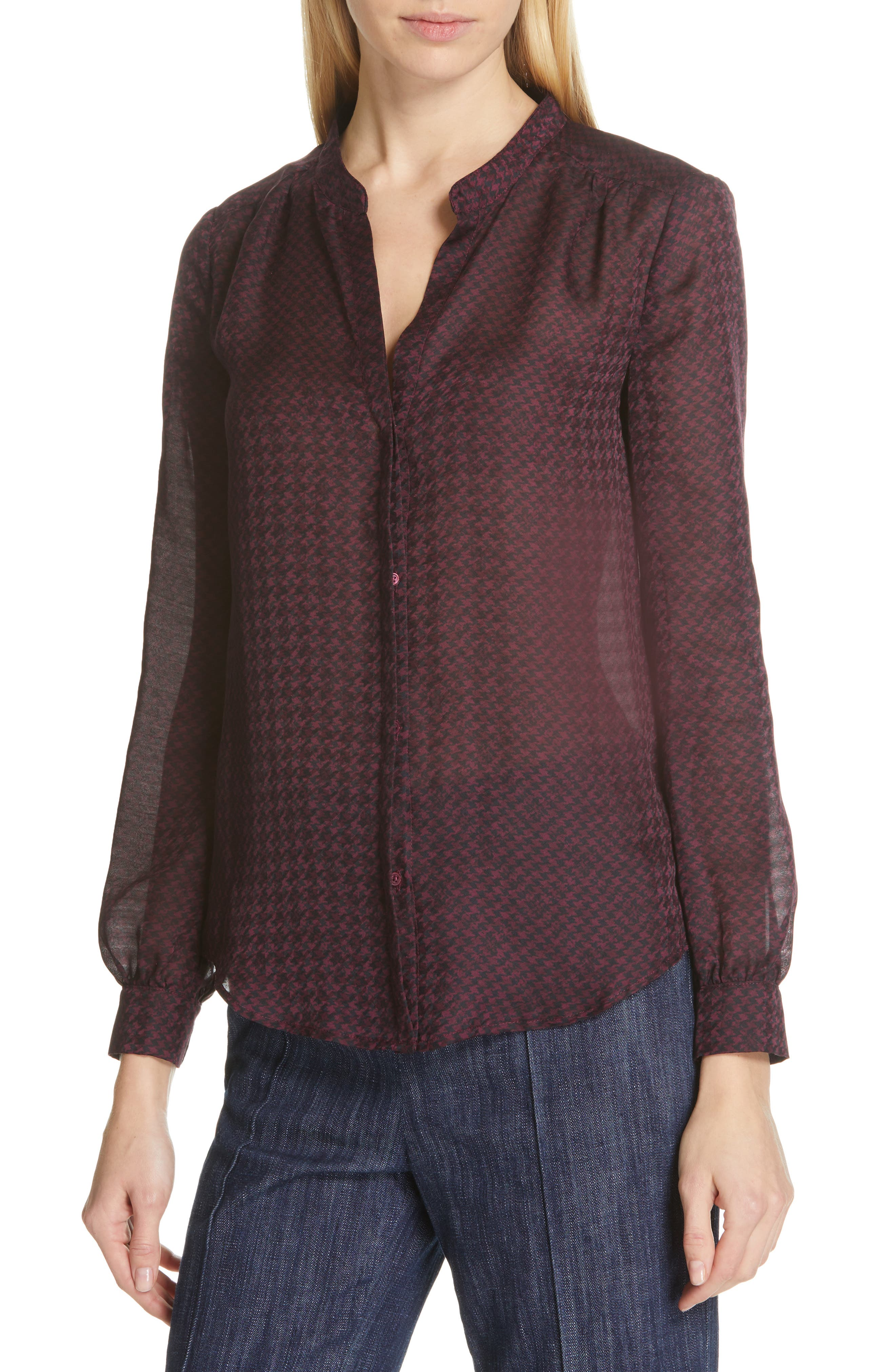 JOIE, Mintee Houndstooth Check Blouse, Alternate thumbnail 4, color, 501