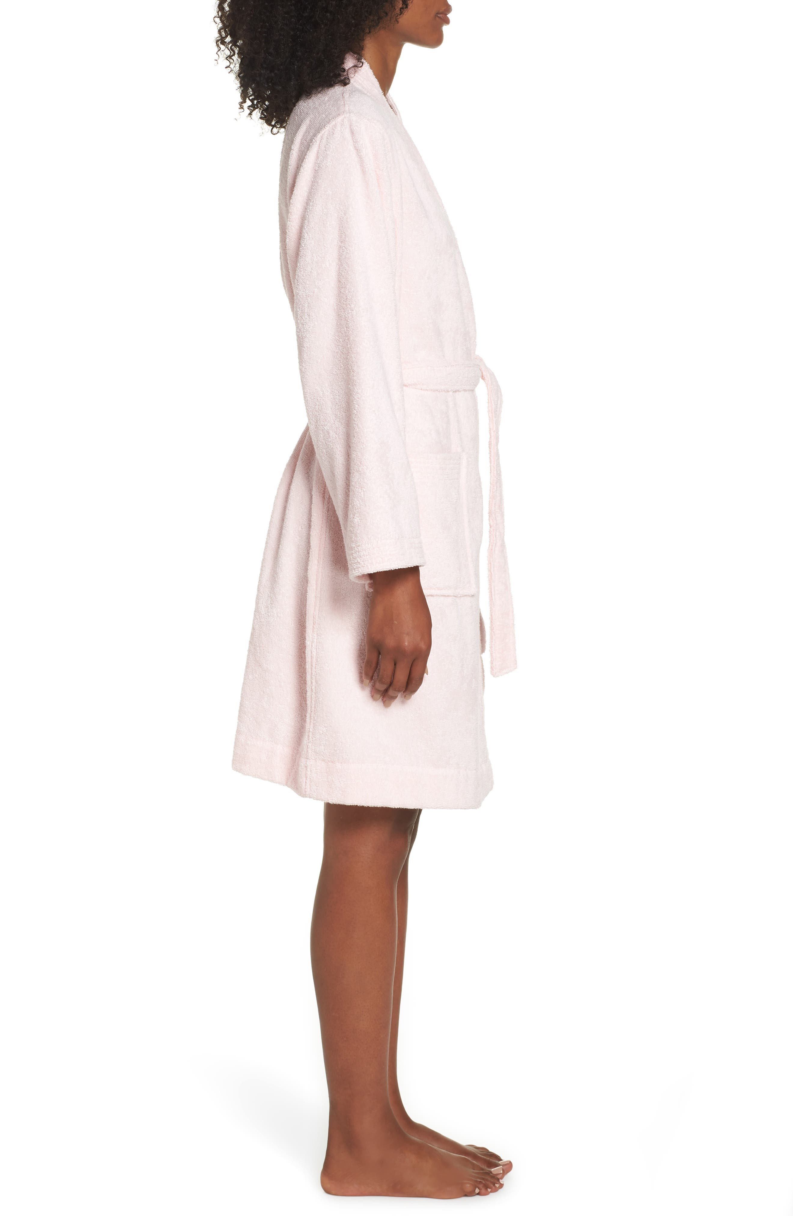 UGG<SUP>®</SUP>, Lorie Terry Short Robe, Alternate thumbnail 3, color, SEASHELL PINK