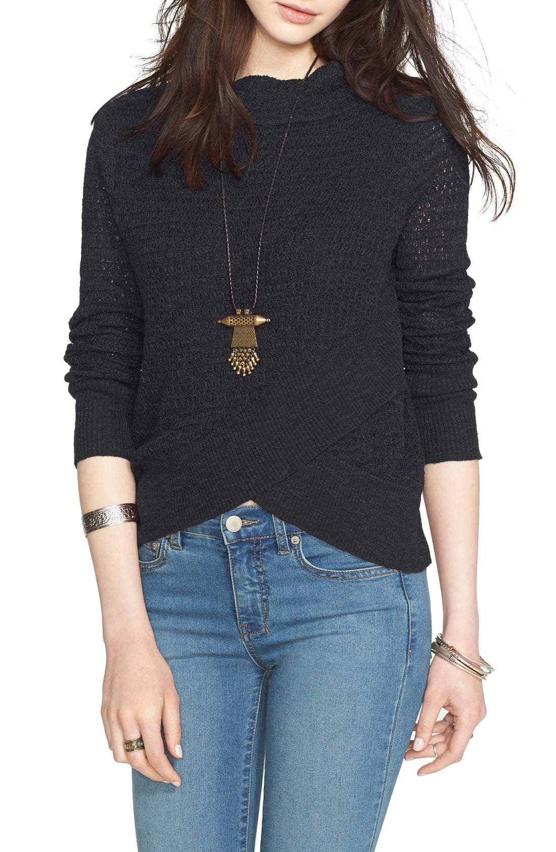 FREE PEOPLE, Crossover Sweater, Main thumbnail 1, color, 001