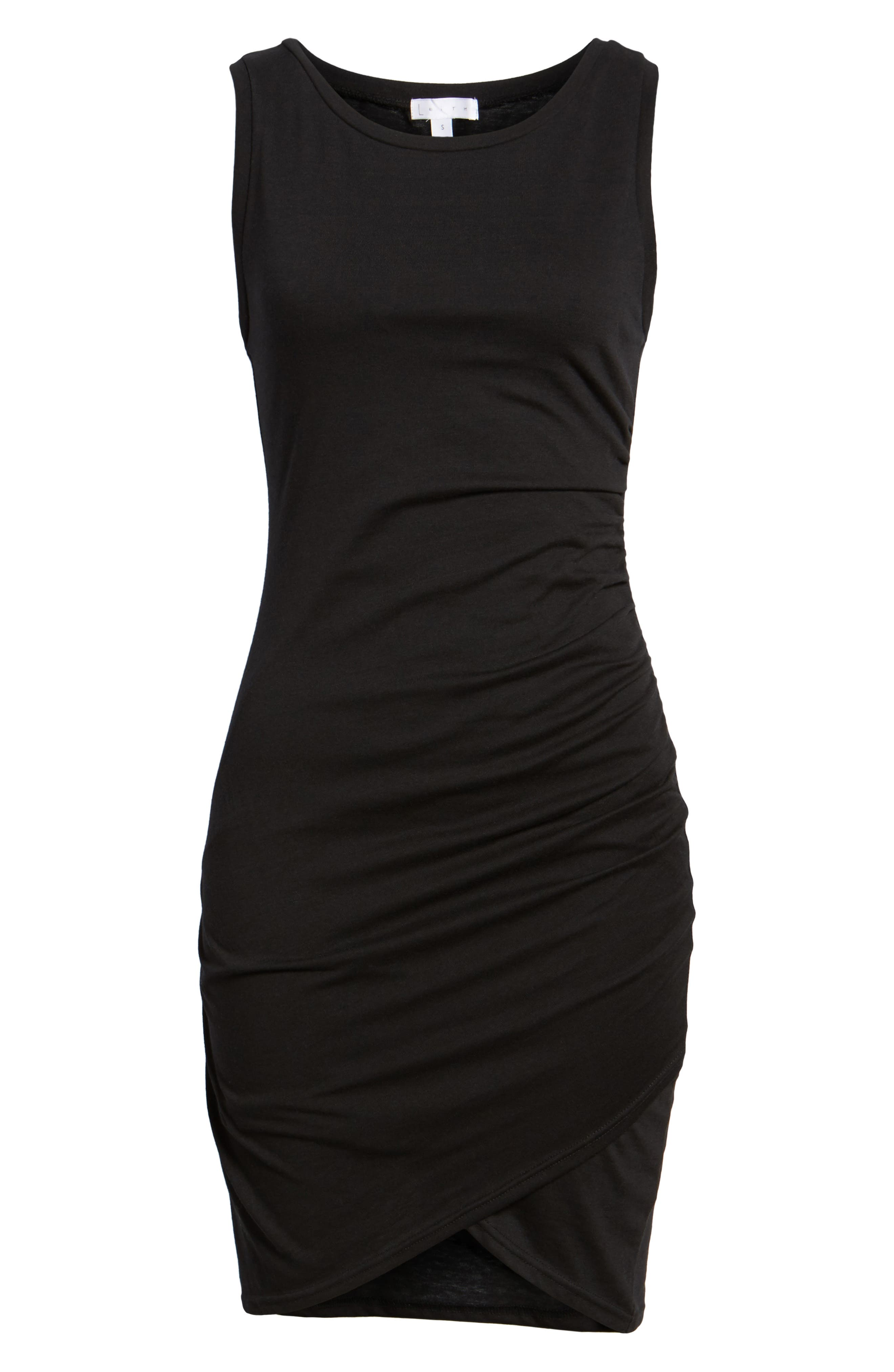 LEITH, Ruched Body-Con Tank Dress, Alternate thumbnail 7, color, BLACK