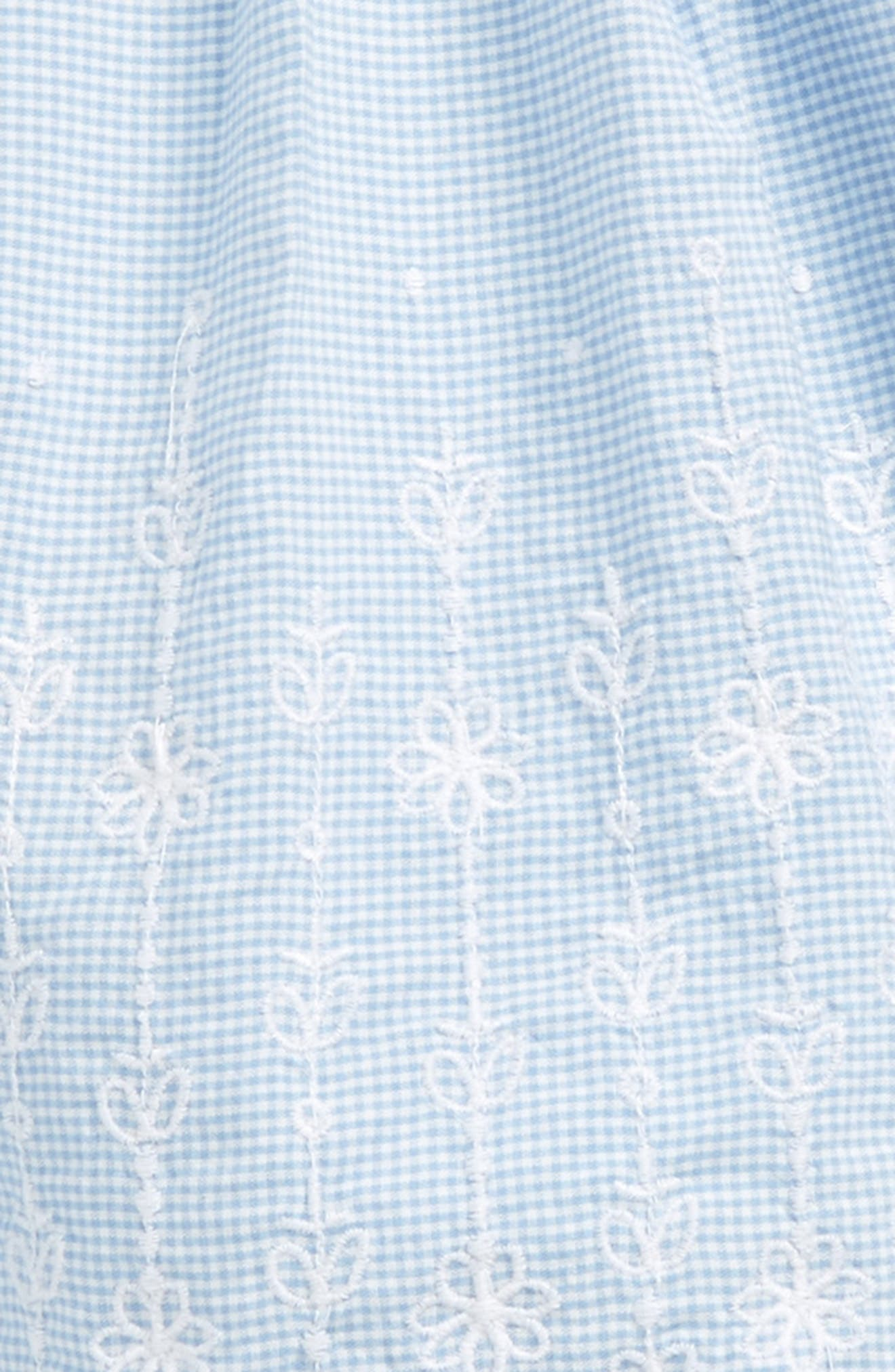 NORDSTROM BABY, Embroidered Mini Check Dress, Alternate thumbnail 2, color, WHITE- BLUE MINI CHECK