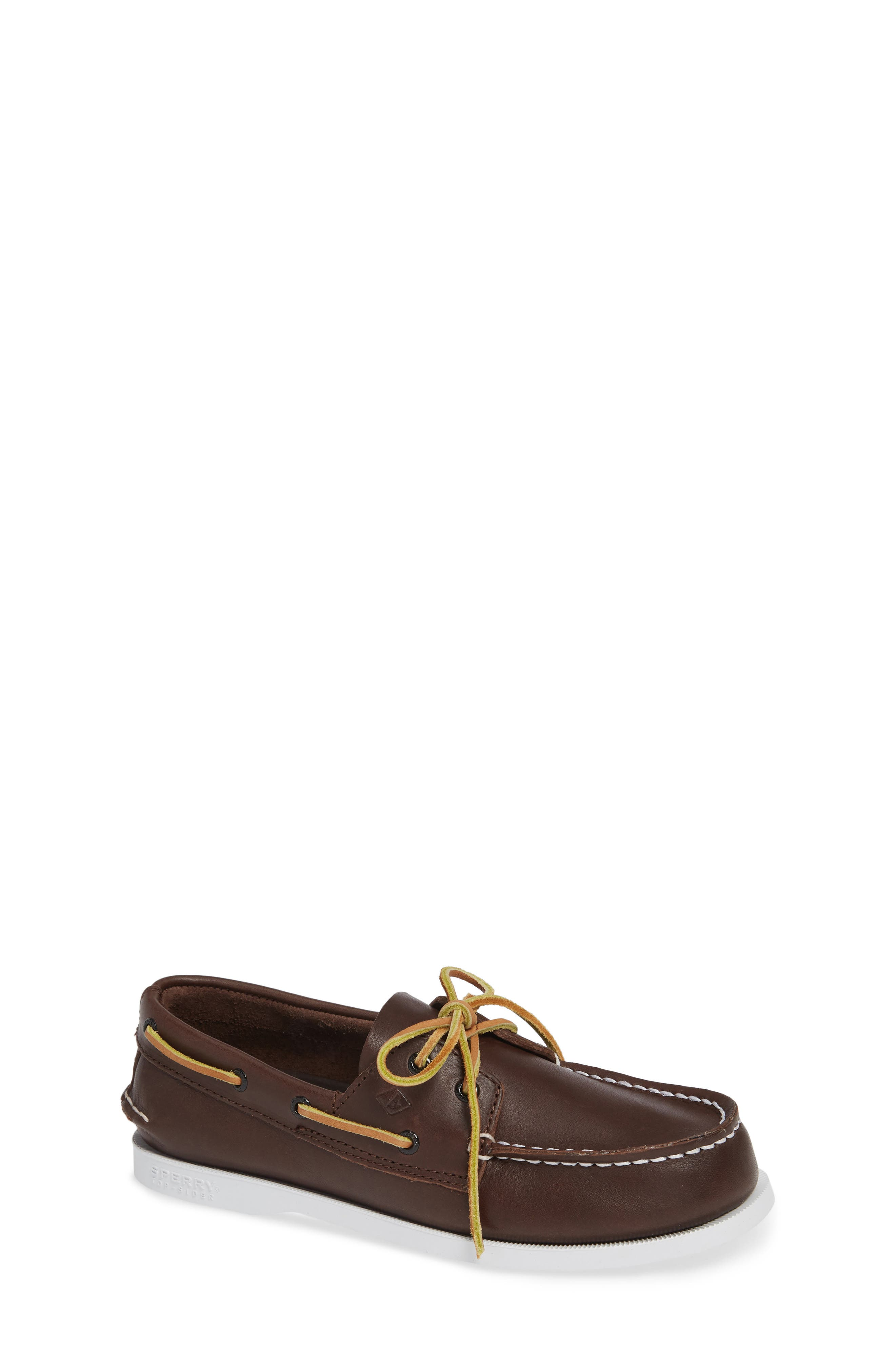 SPERRY KIDS, 'Authentic Original' Boat Shoe, Alternate thumbnail 2, color, BROWN LEATHER