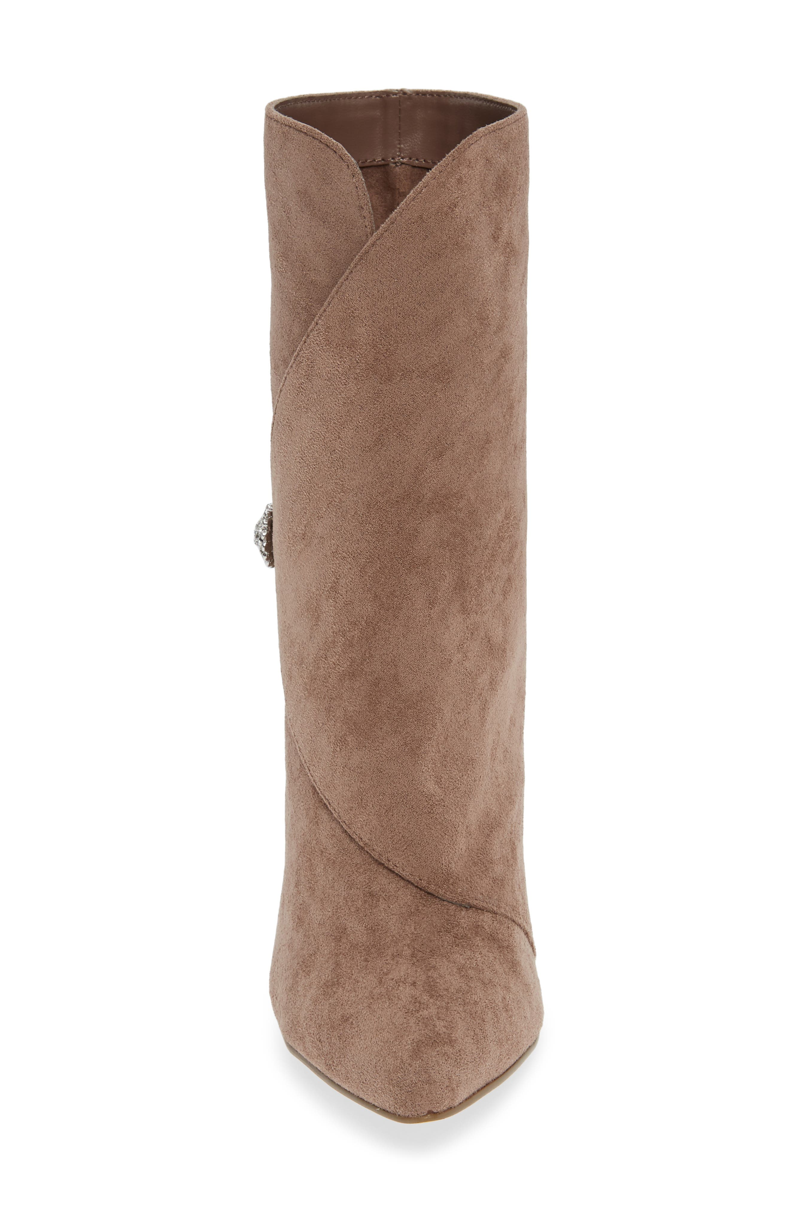CHARLES BY CHARLES DAVID, Pistol Crystal Embellished Pointy Toe Bootie, Alternate thumbnail 4, color, TAUPE SUEDE