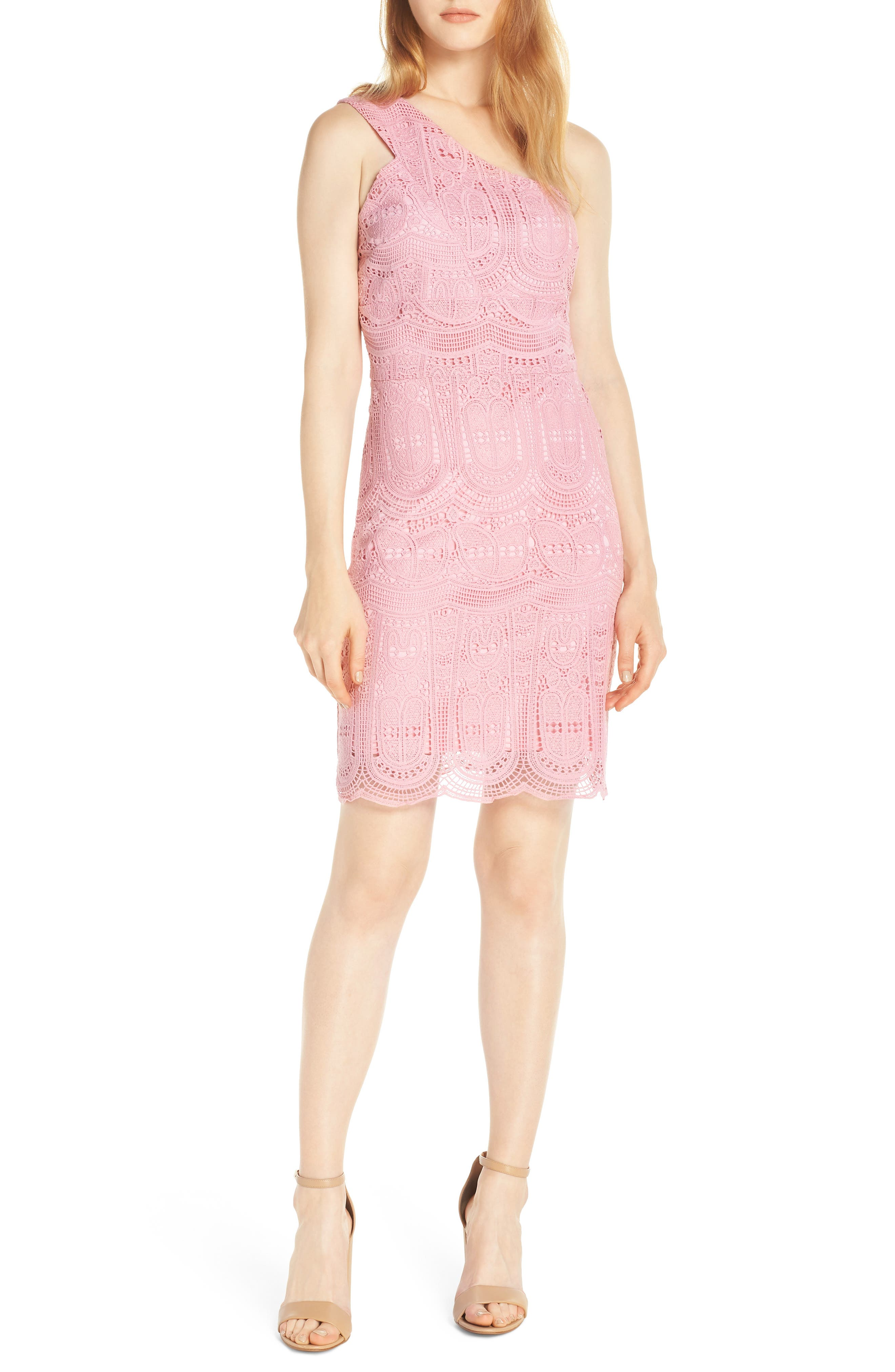 NSR, Grace One-Shoulder Lace Sheath Dress, Main thumbnail 1, color, PINK