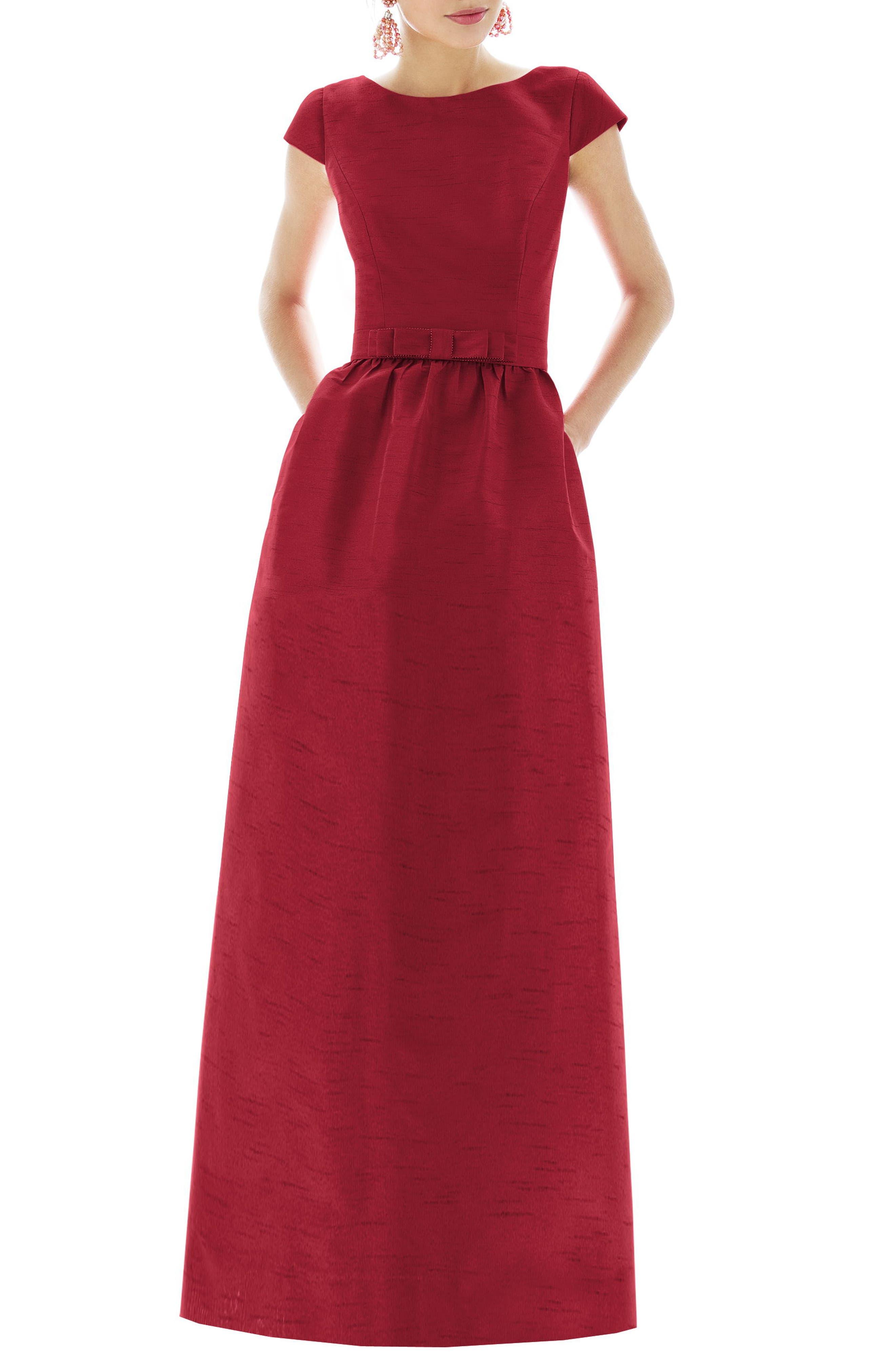 Alfred Sung Cap Sleeve Dupioni Full Length Dress, Red