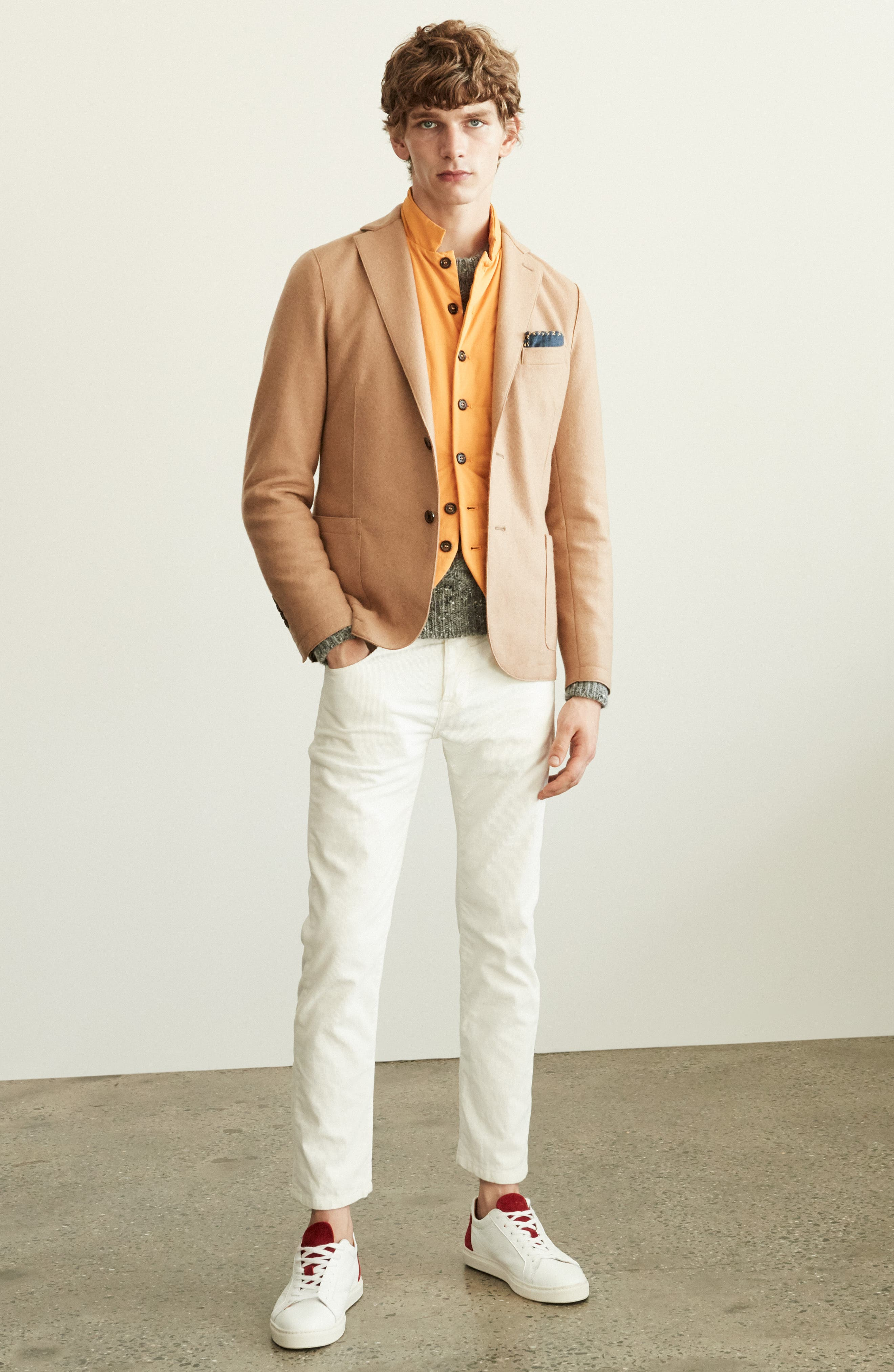 ELEVENTY, Wool Blend Sport Coat, Alternate thumbnail 8, color, SMOKE GREY MELANGE