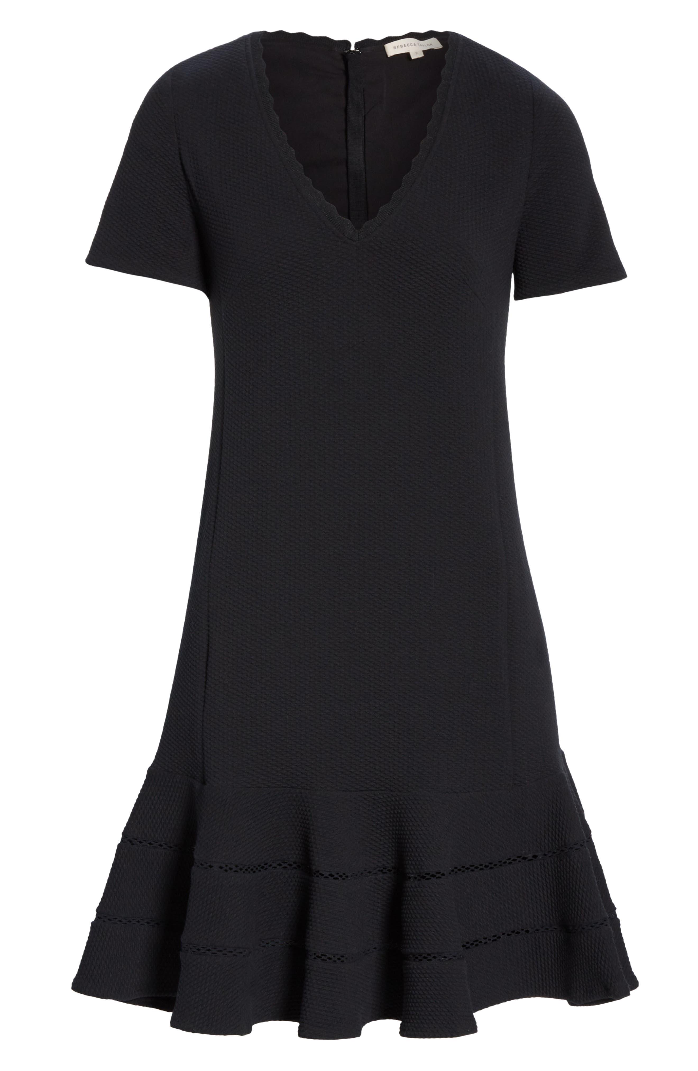 REBECCA TAYLOR, Fit & Flare Dress, Alternate thumbnail 6, color, BLACK