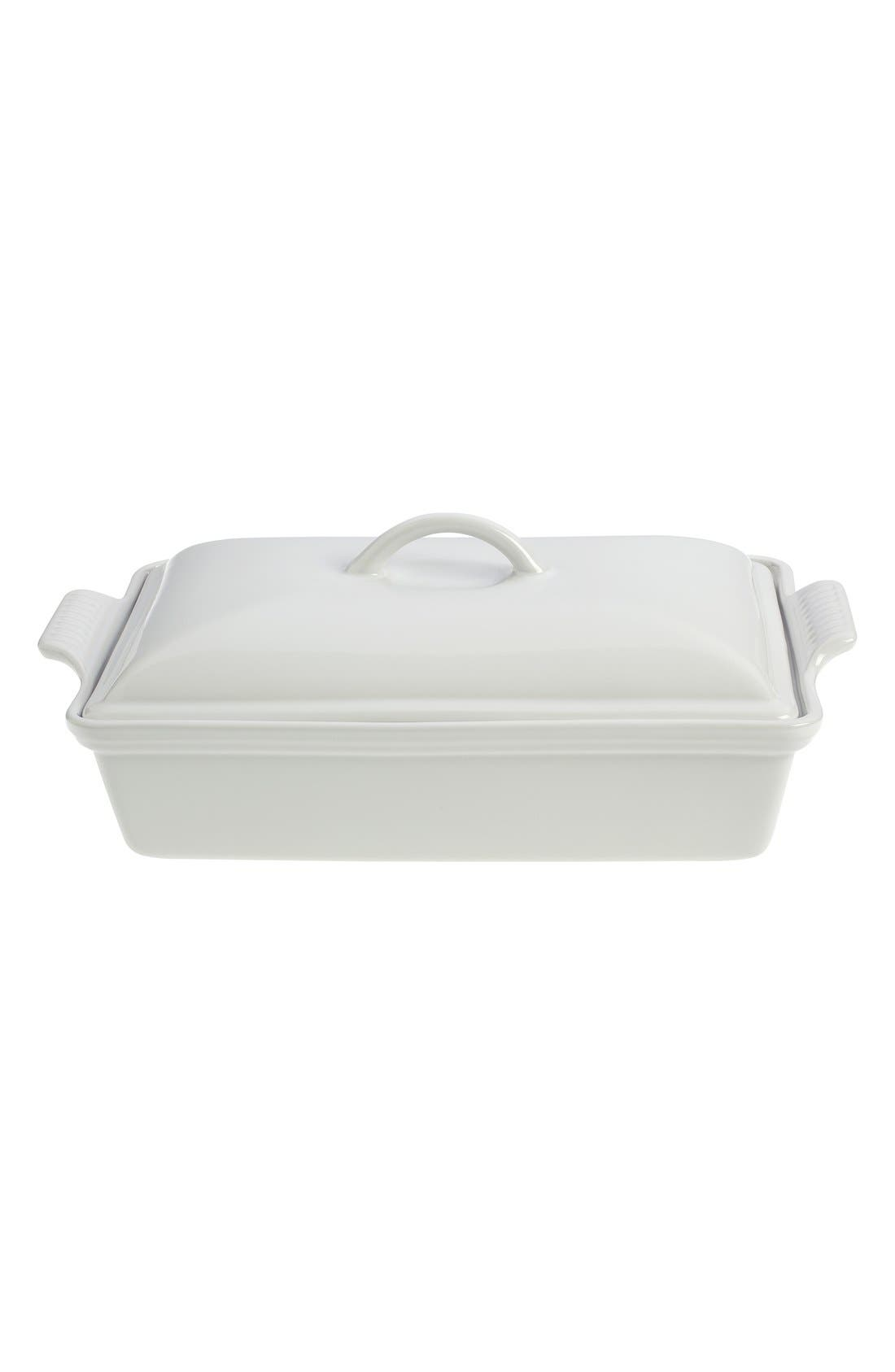 LE CREUSET, 4 Quart Covered Rectangular Stoneware Casserole, Main thumbnail 1, color, WHITE