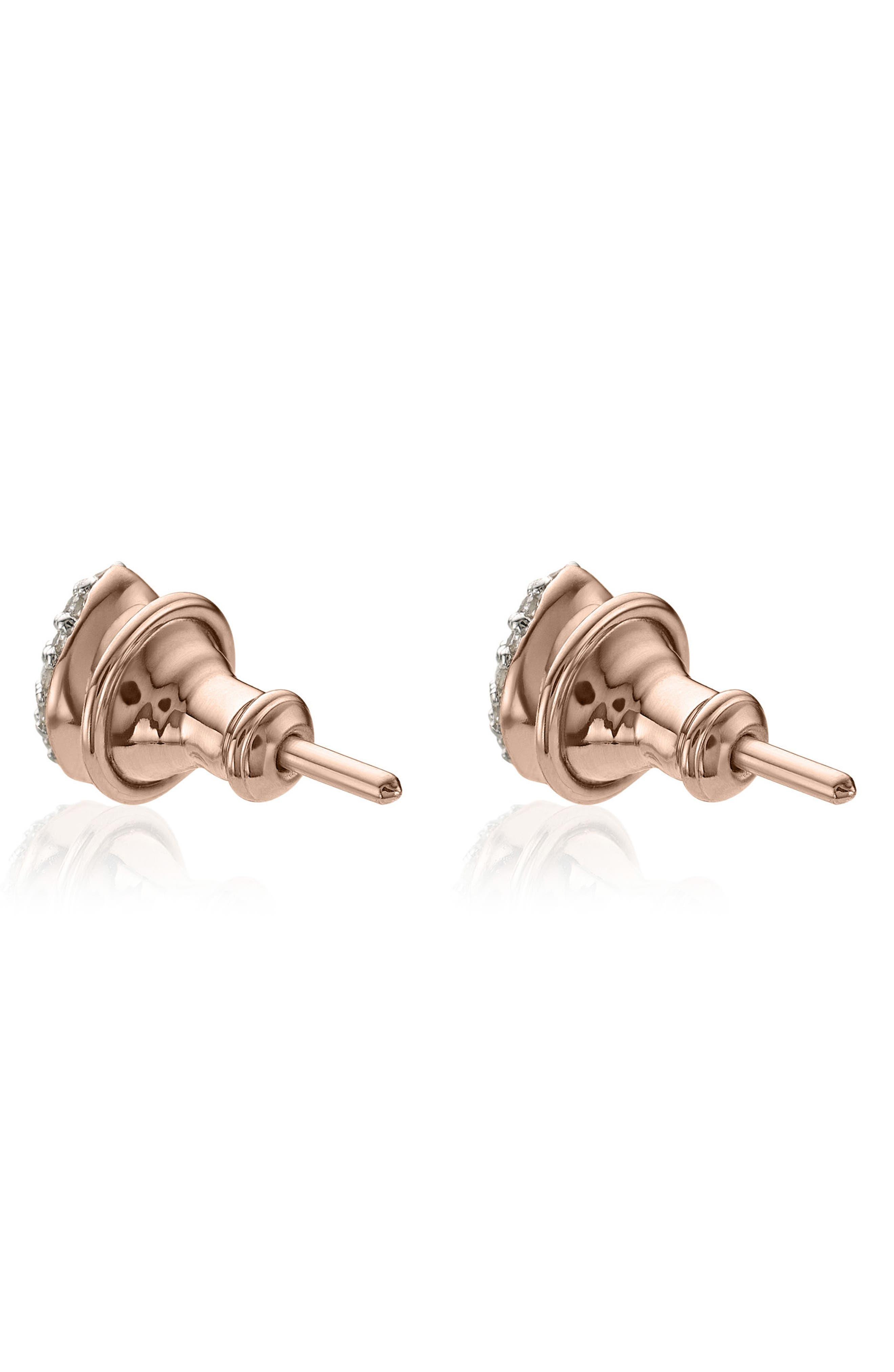 MONICA VINADER, Nura Mini Diamond Stud Earrings, Alternate thumbnail 2, color, ROSE GOLD/ DIAMOND