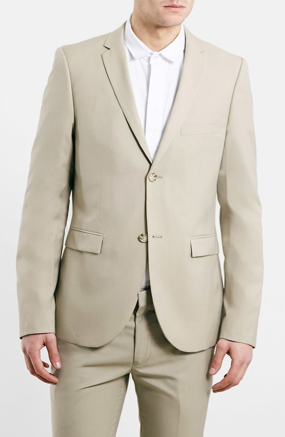 TOPMAN, Camel Ultra Skinny Suit Jacket, Main thumbnail 1, color, 252