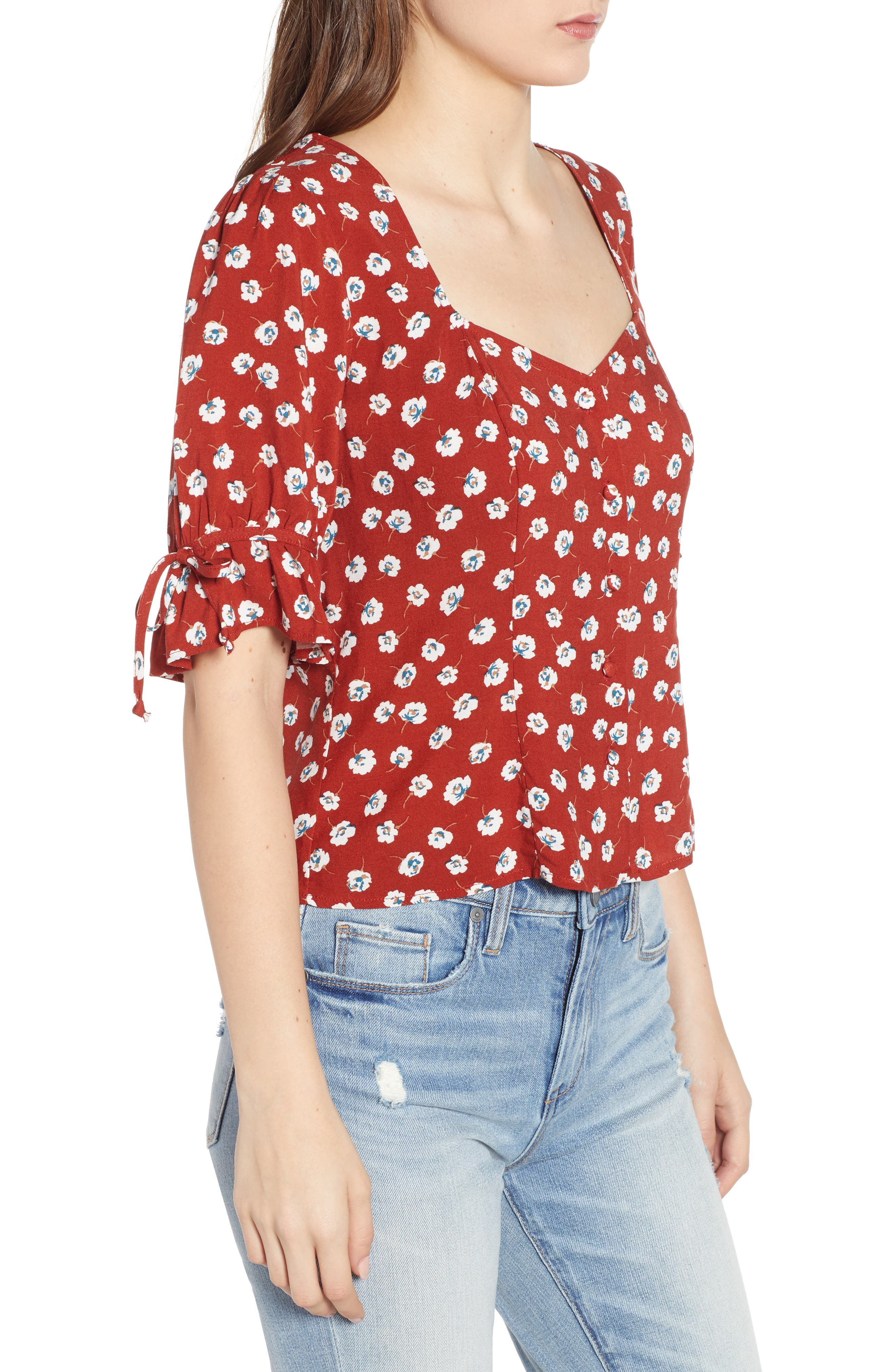 ROW A, Tie Sleeve Top, Alternate thumbnail 3, color, RED FLORAL