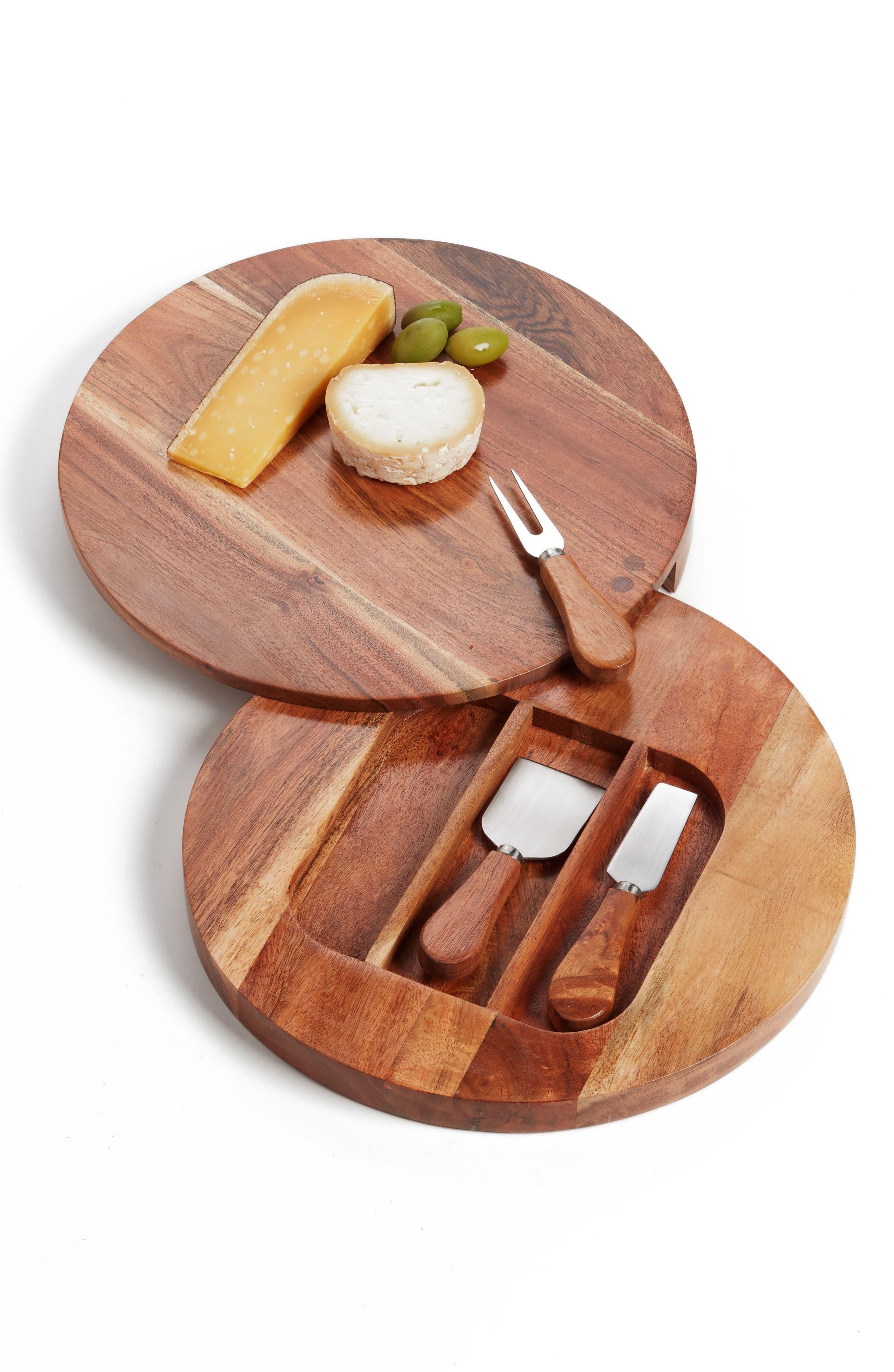 NORDSTROM AT HOME, Acacia Wood Cheese Board & Cheese Knives, Main thumbnail 1, color, BROWN