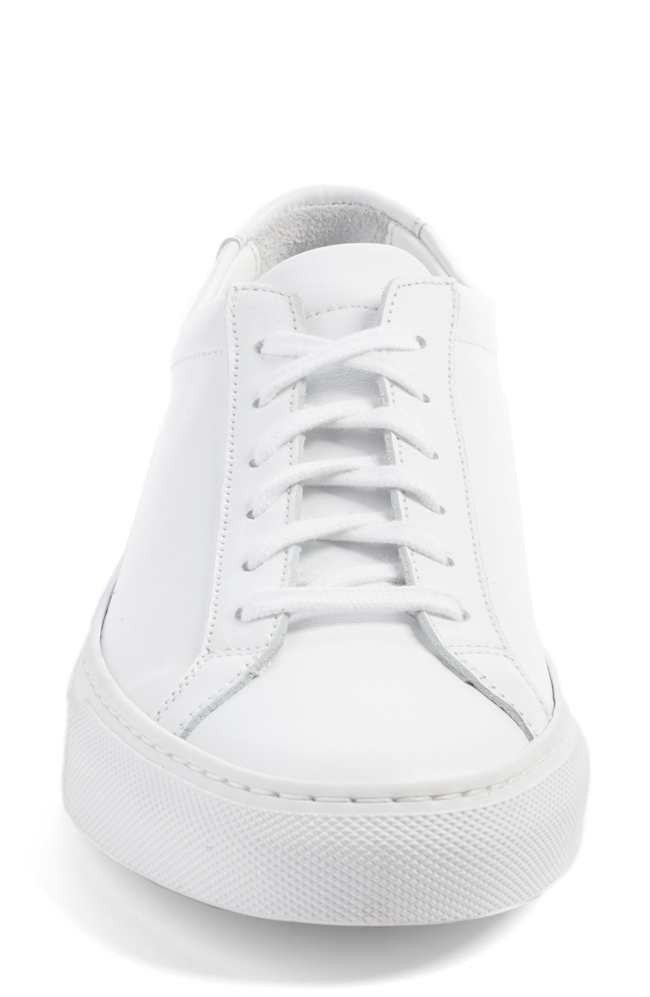 COMMON PROJECTS, Original Achilles Sneaker, Alternate thumbnail 4, color, WHITE LEATHER