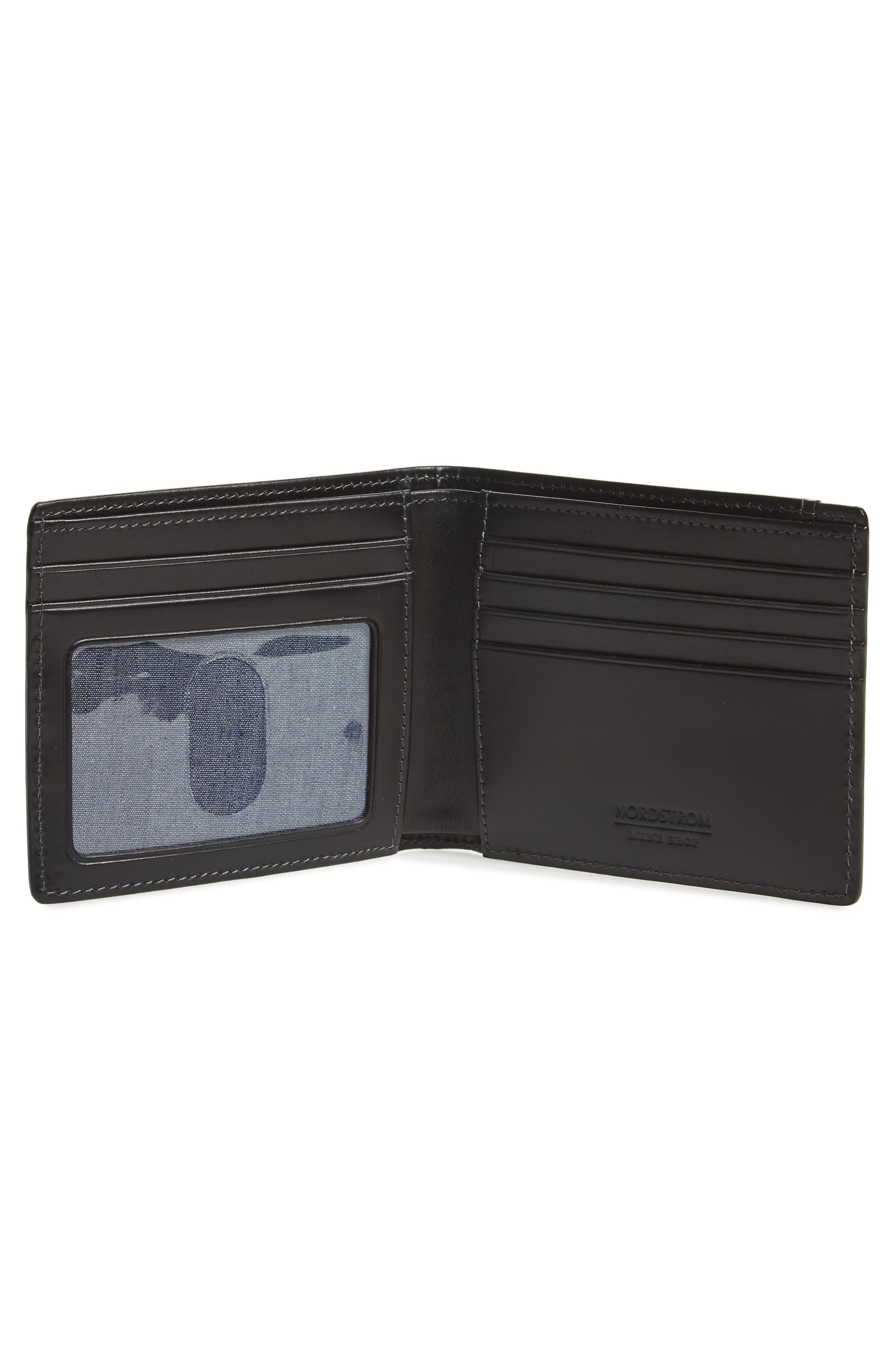 NORDSTROM MEN'S SHOP, Wyatt RFID Leather Wallet, Alternate thumbnail 2, color, BLACK