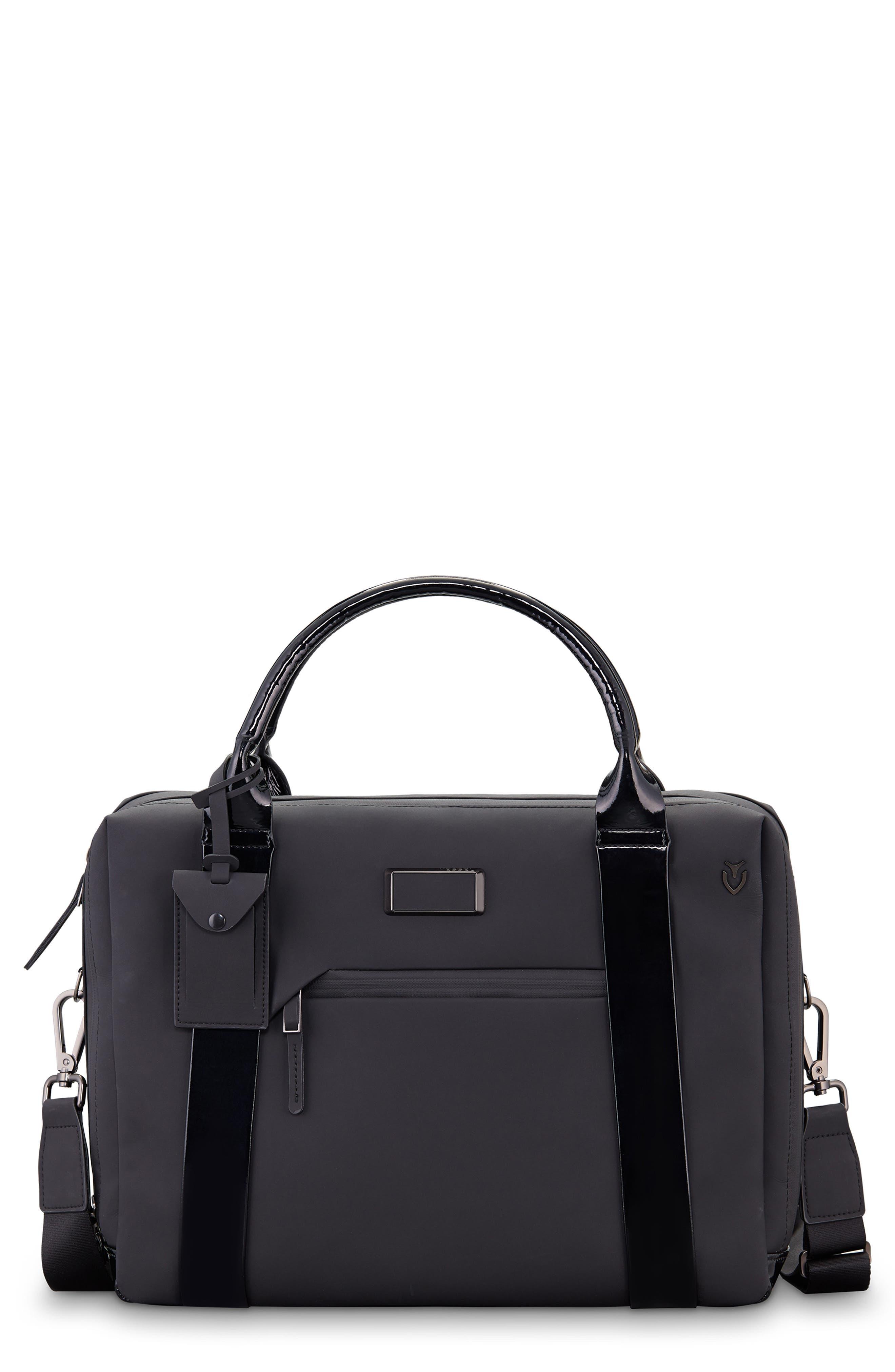 VESSEL, Signature 2.0 Faux Leather Briefcase, Main thumbnail 1, color, MATTE/ PATENT BLACK