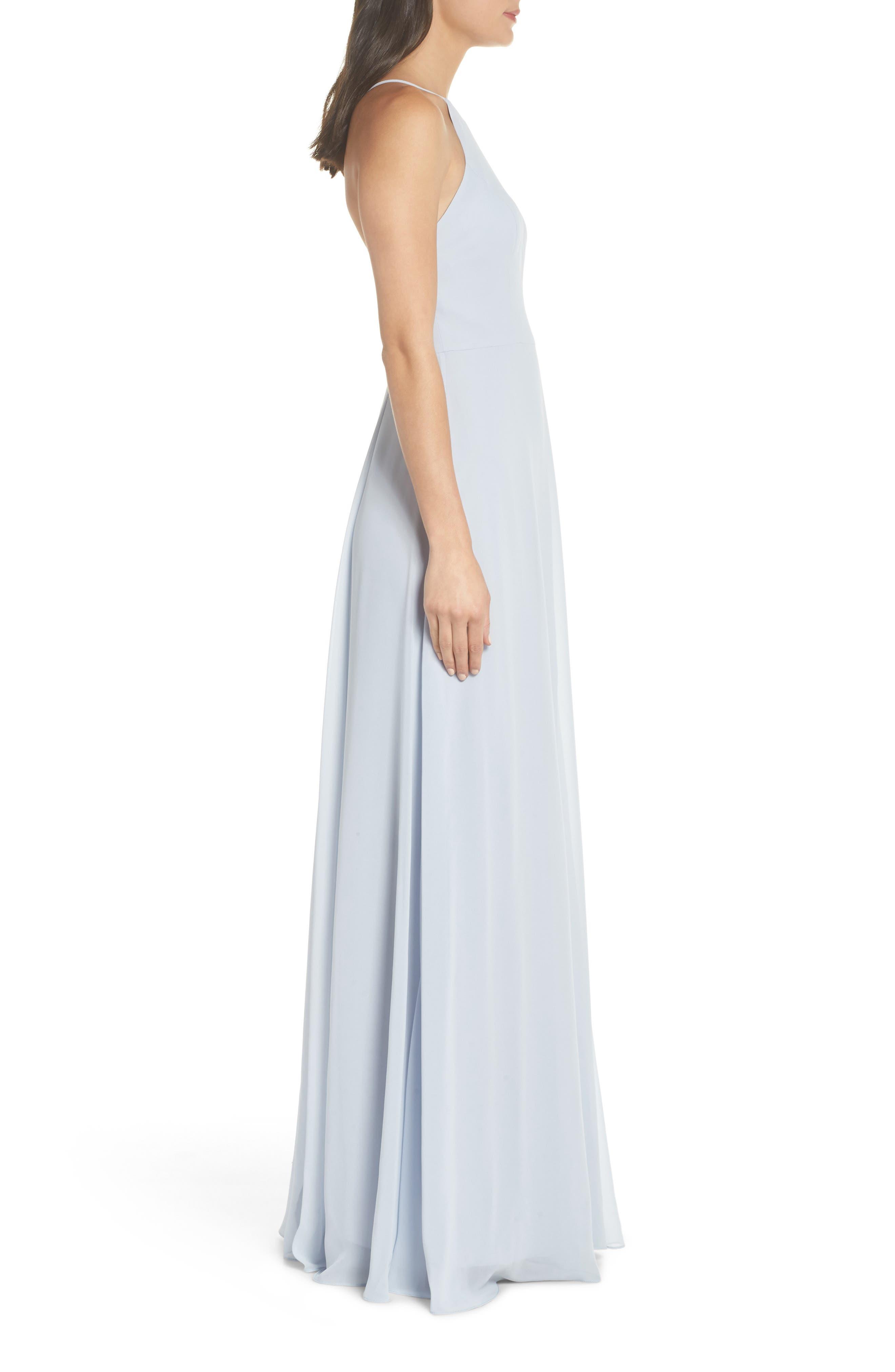 JENNY YOO, Kayla A-Line Halter Gown, Alternate thumbnail 4, color, WHISPER BLUE