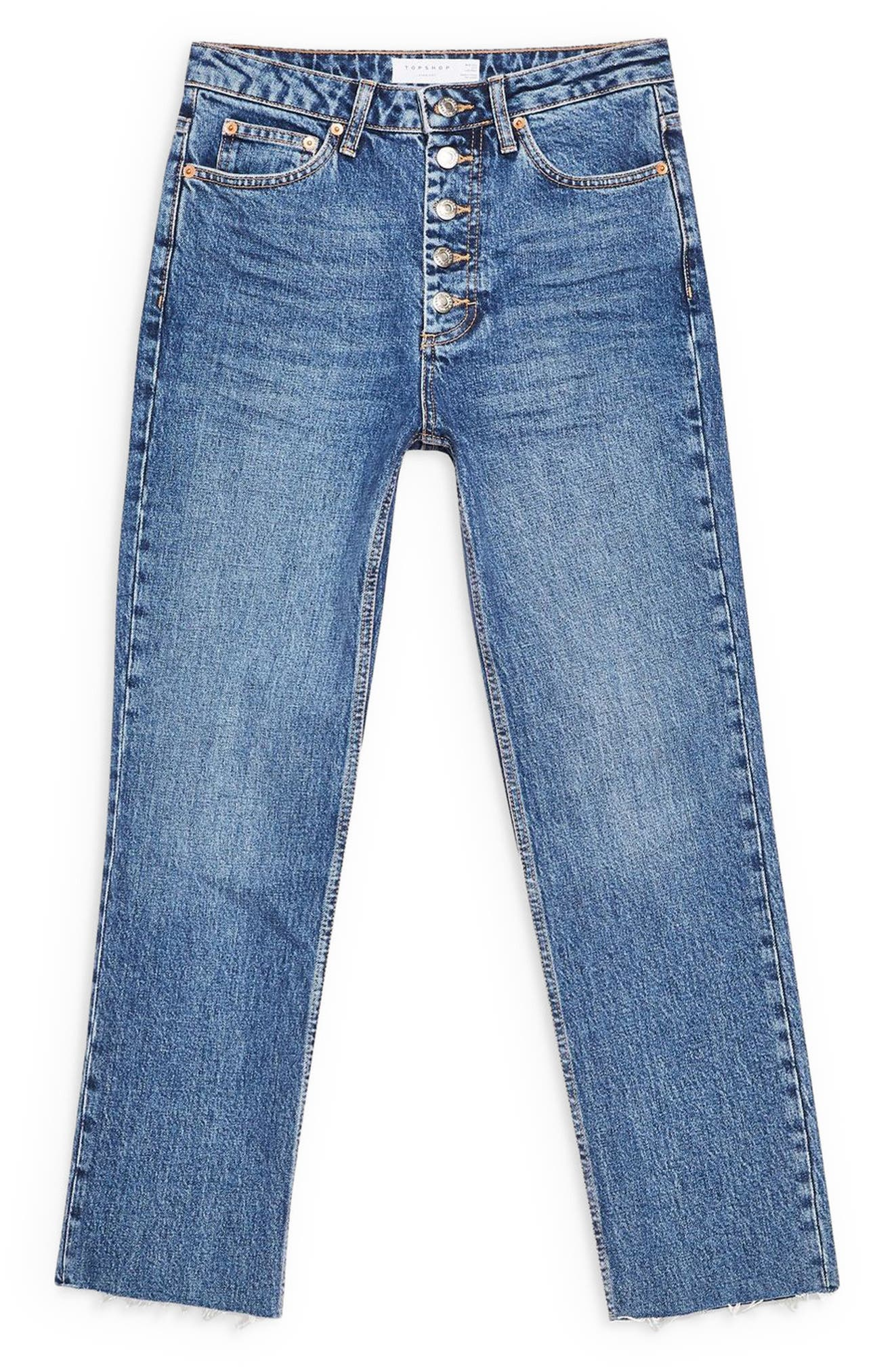 TOPSHOP, Exposed Button Raw Hem Straight Leg Jeans, Alternate thumbnail 3, color, INDIGO