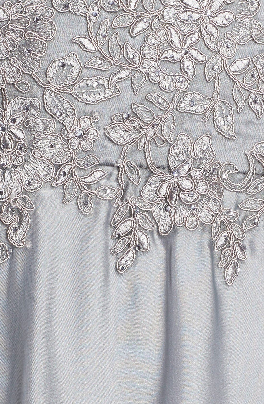 LA FEMME, Embellished Lace & Satin Ballgown, Alternate thumbnail 2, color, PLATINUM