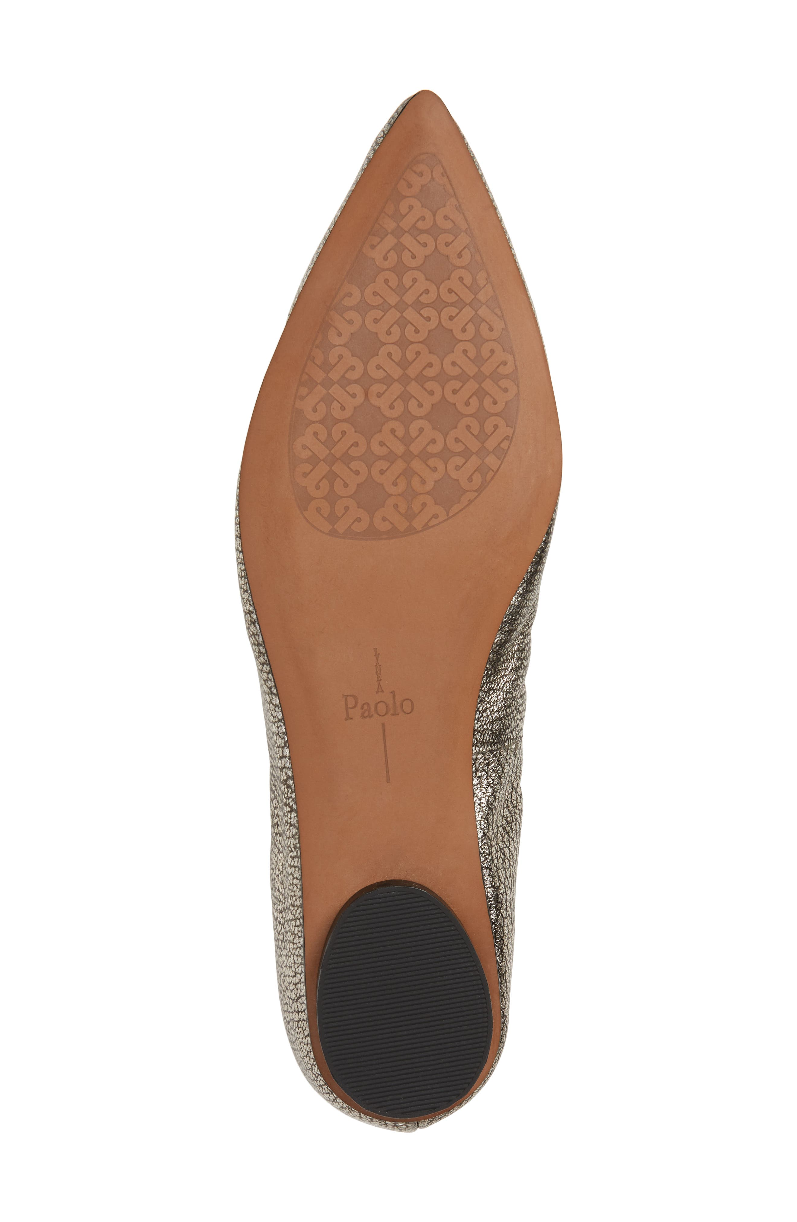 LINEA PAOLO, Nico Pointy Toe Flat, Alternate thumbnail 6, color, ANTHRACITE LEATHER