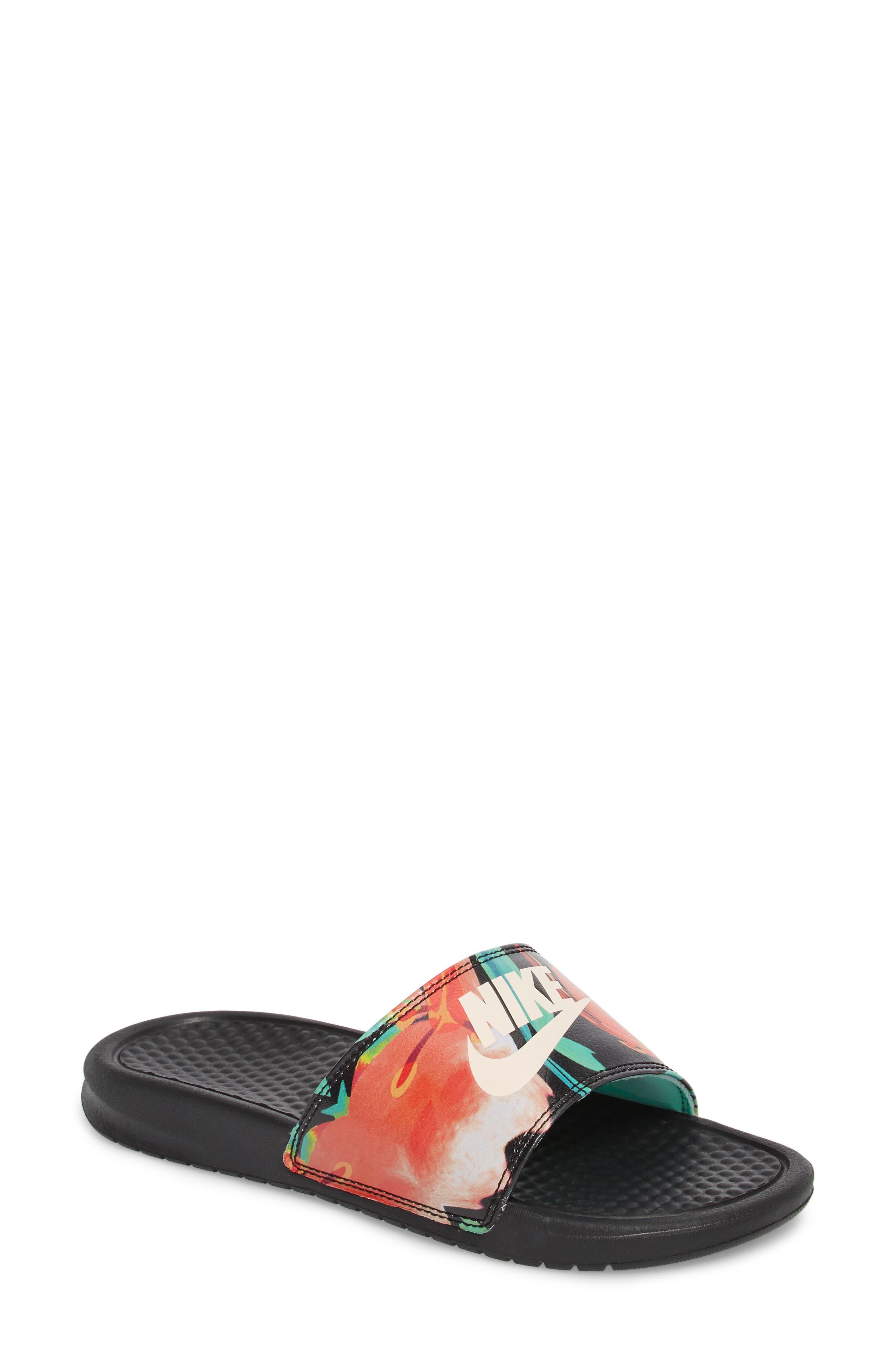 NIKE, 'Benassi - Just Do It' Print Sandal, Main thumbnail 1, color, BLACK/ CREAM