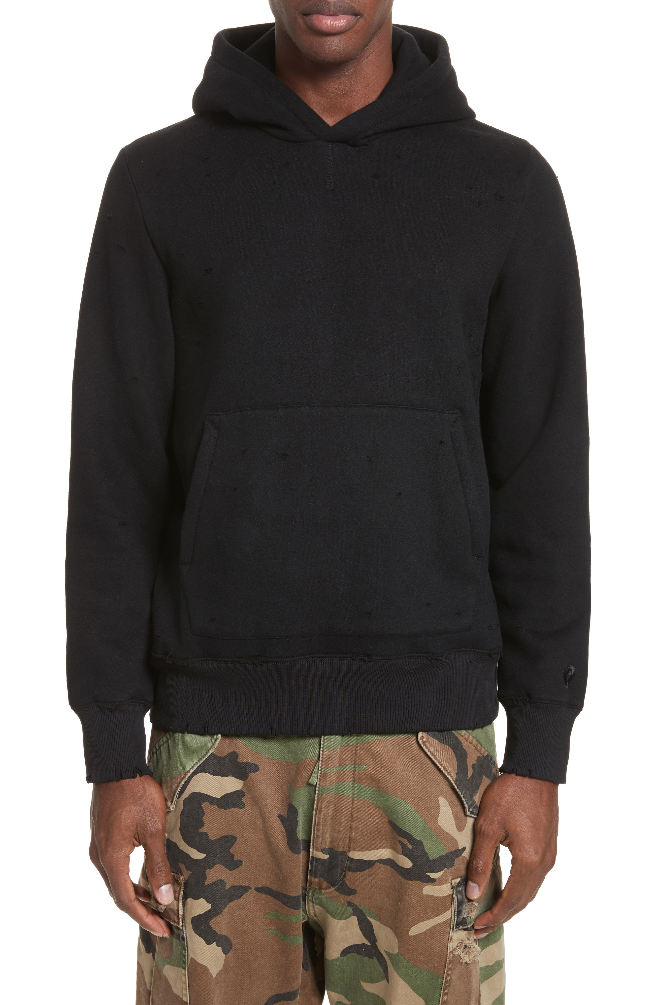 OVADIA & SONS Distressed Hoodie, Main, color, BLACK