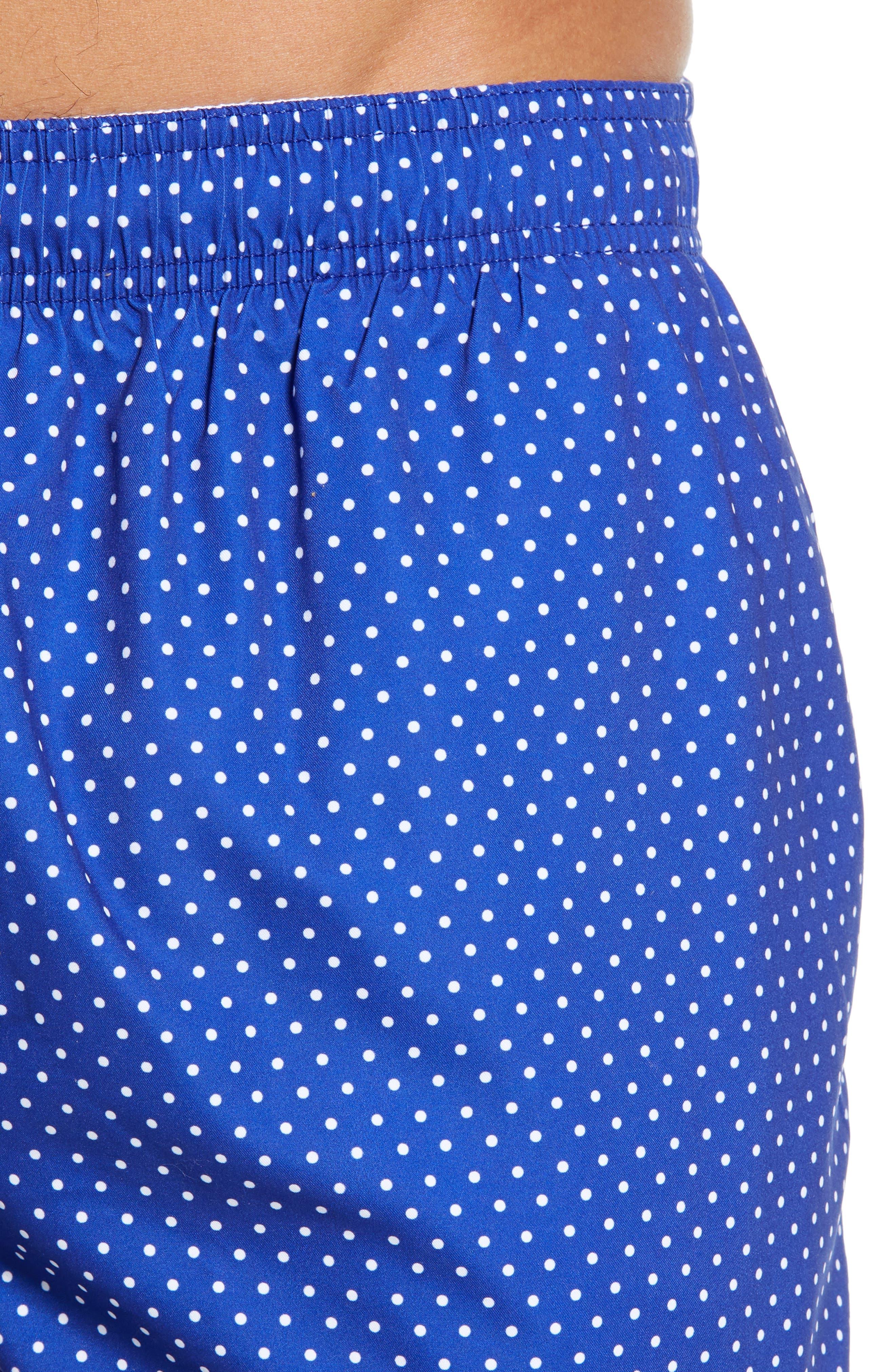 BOSS, Pike Regular Fit Polka Dot Swim Shorts, Alternate thumbnail 4, color, BLUE