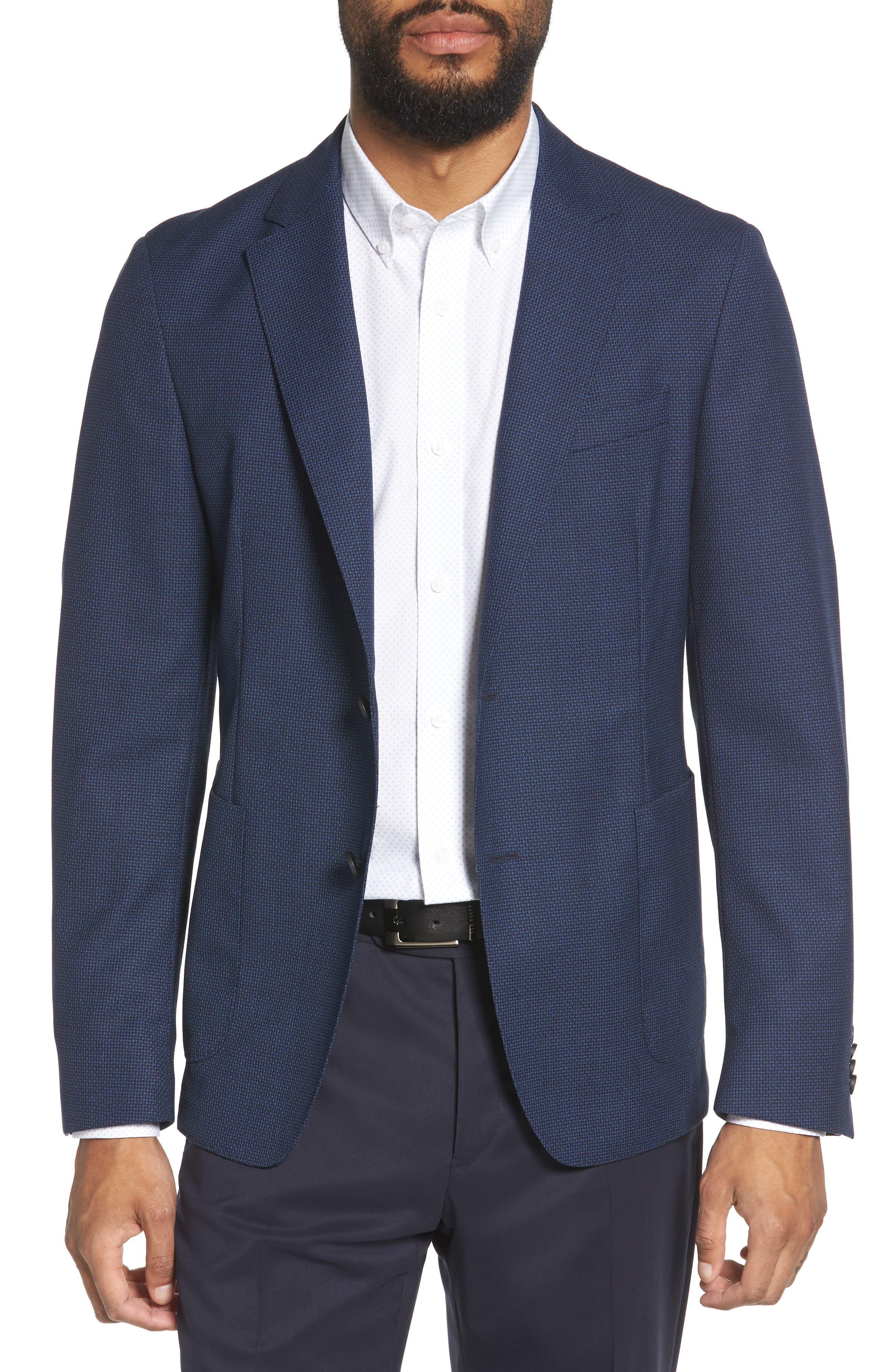 BOSS, Nold Slim Fit Wool Blazer, Main thumbnail 1, color, BLUE