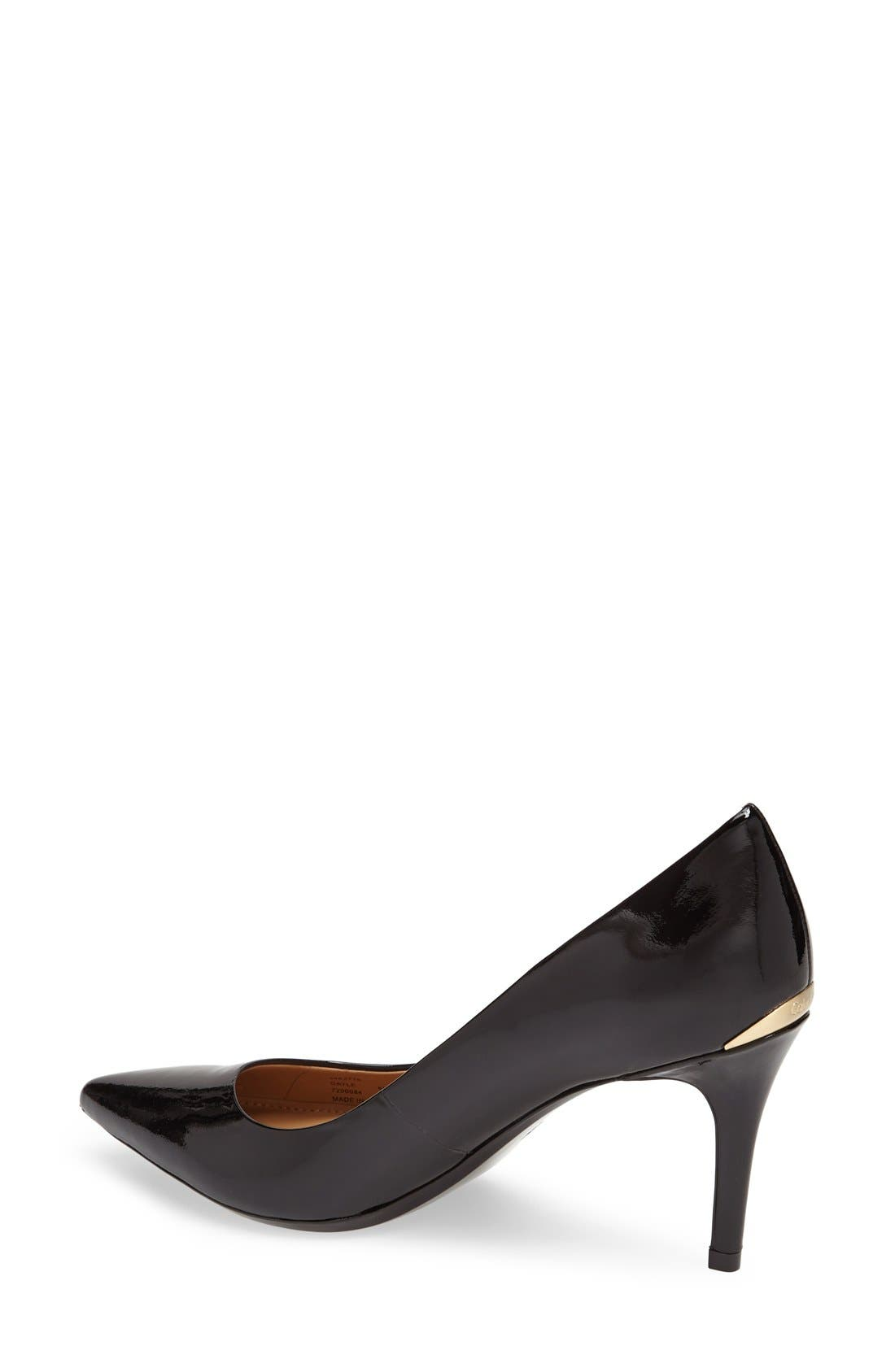 CALVIN KLEIN, 'Gayle' Pointy Toe Pump, Alternate thumbnail 6, color, BLACK PATENT