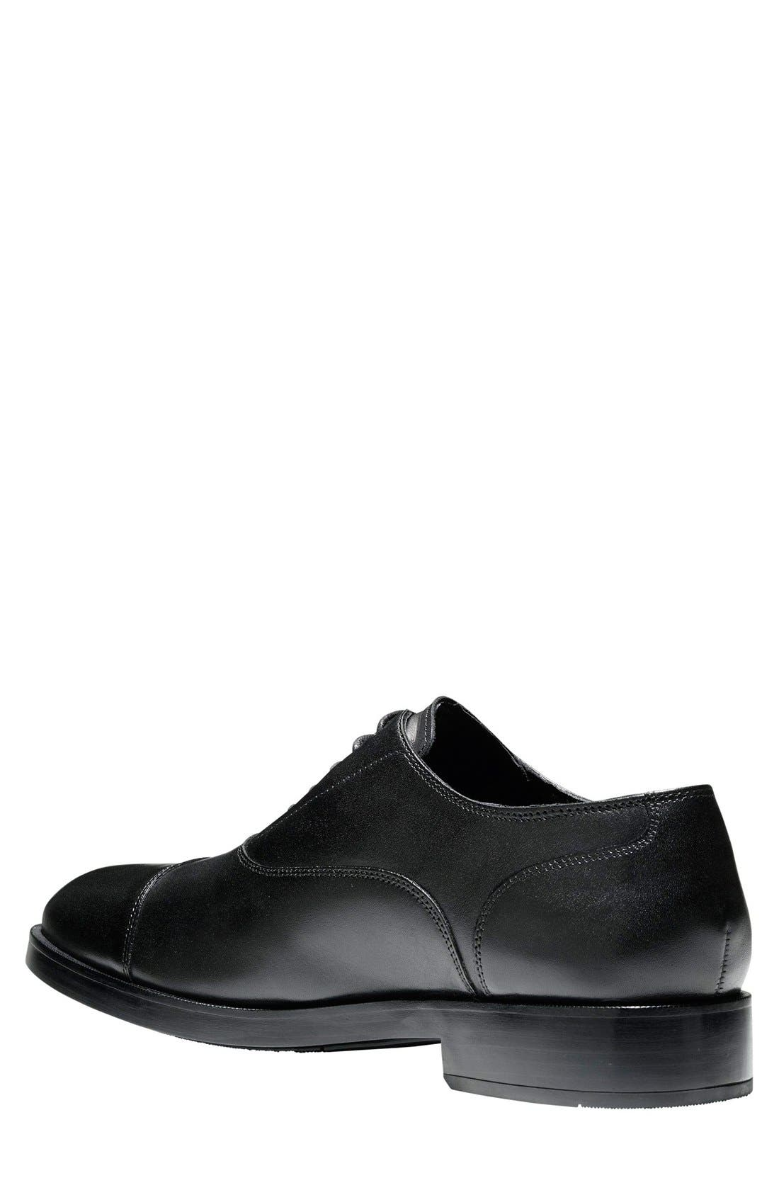 COLE HAAN, Harrison Grand Cap Toe Oxford, Alternate thumbnail 7, color, BLACK/ BLACK LEATHER