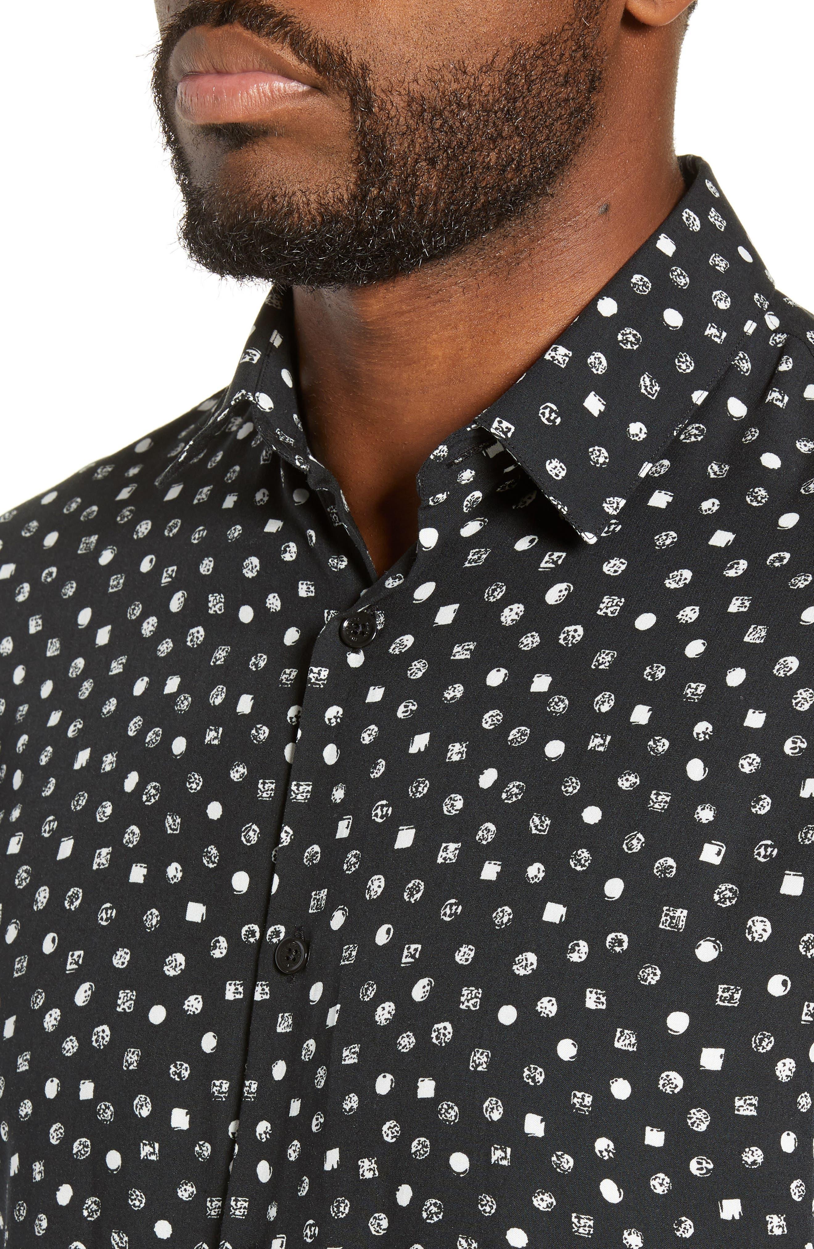 THE KOOPLES, Classic Fit Print Sport Shirt, Alternate thumbnail 2, color, BLACK WHITE
